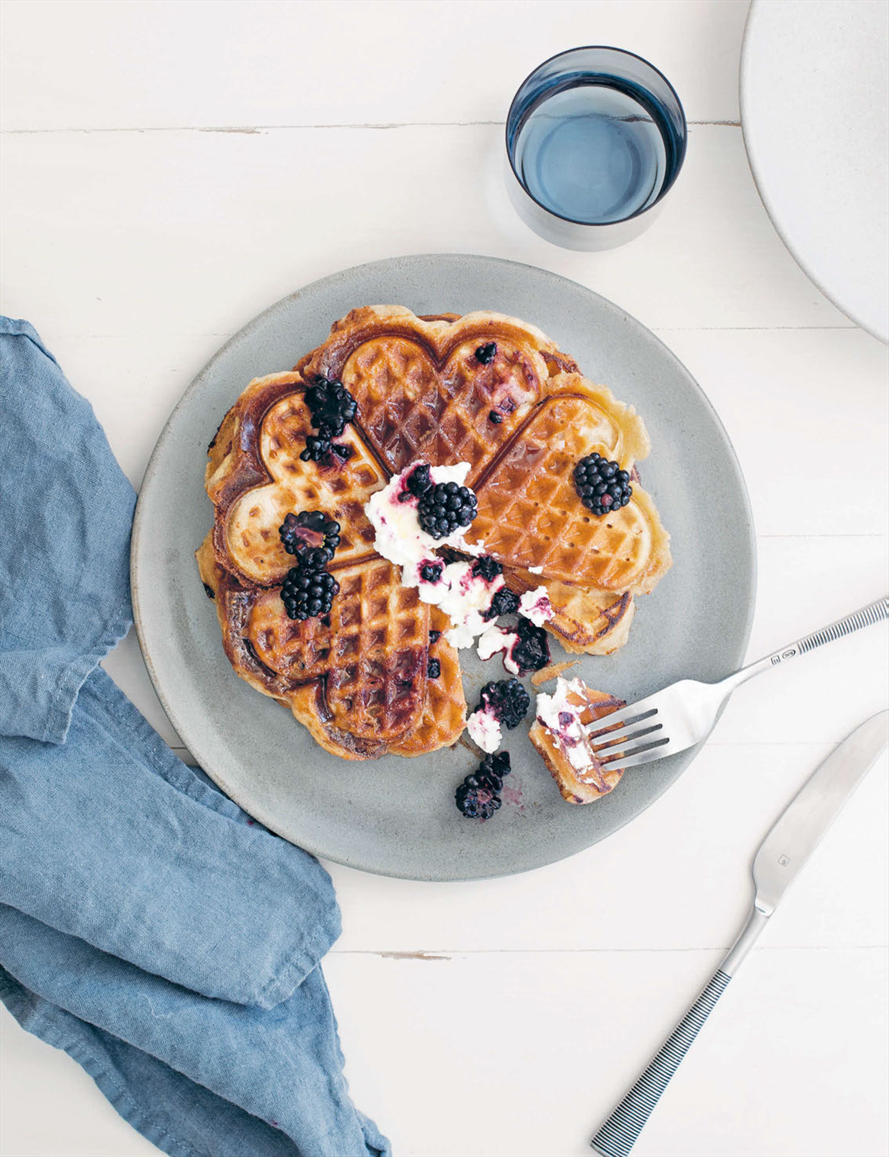 French toast waffles with berry compote