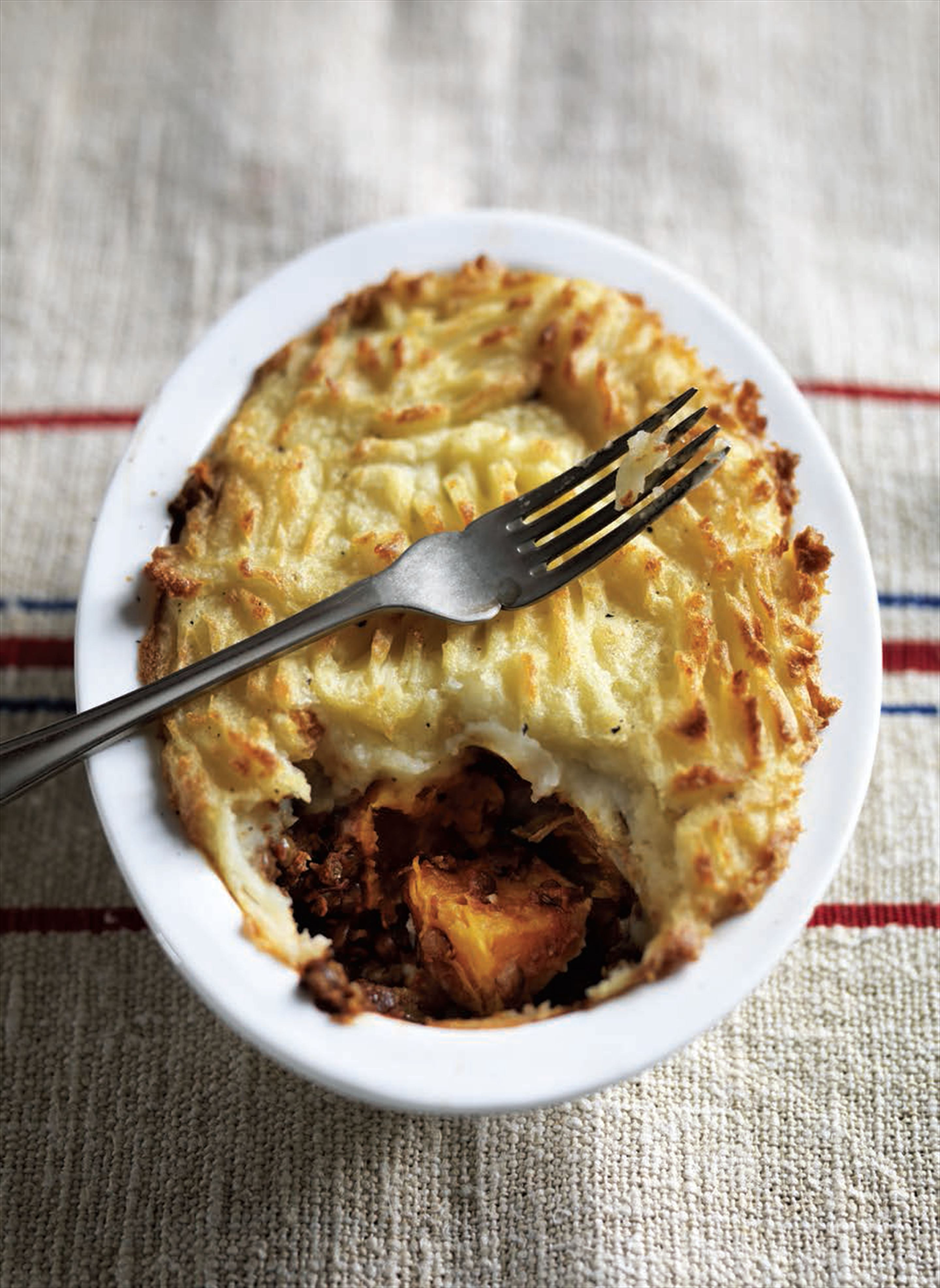 Puy lentil and roast butternut squash 'shepherd's pies'