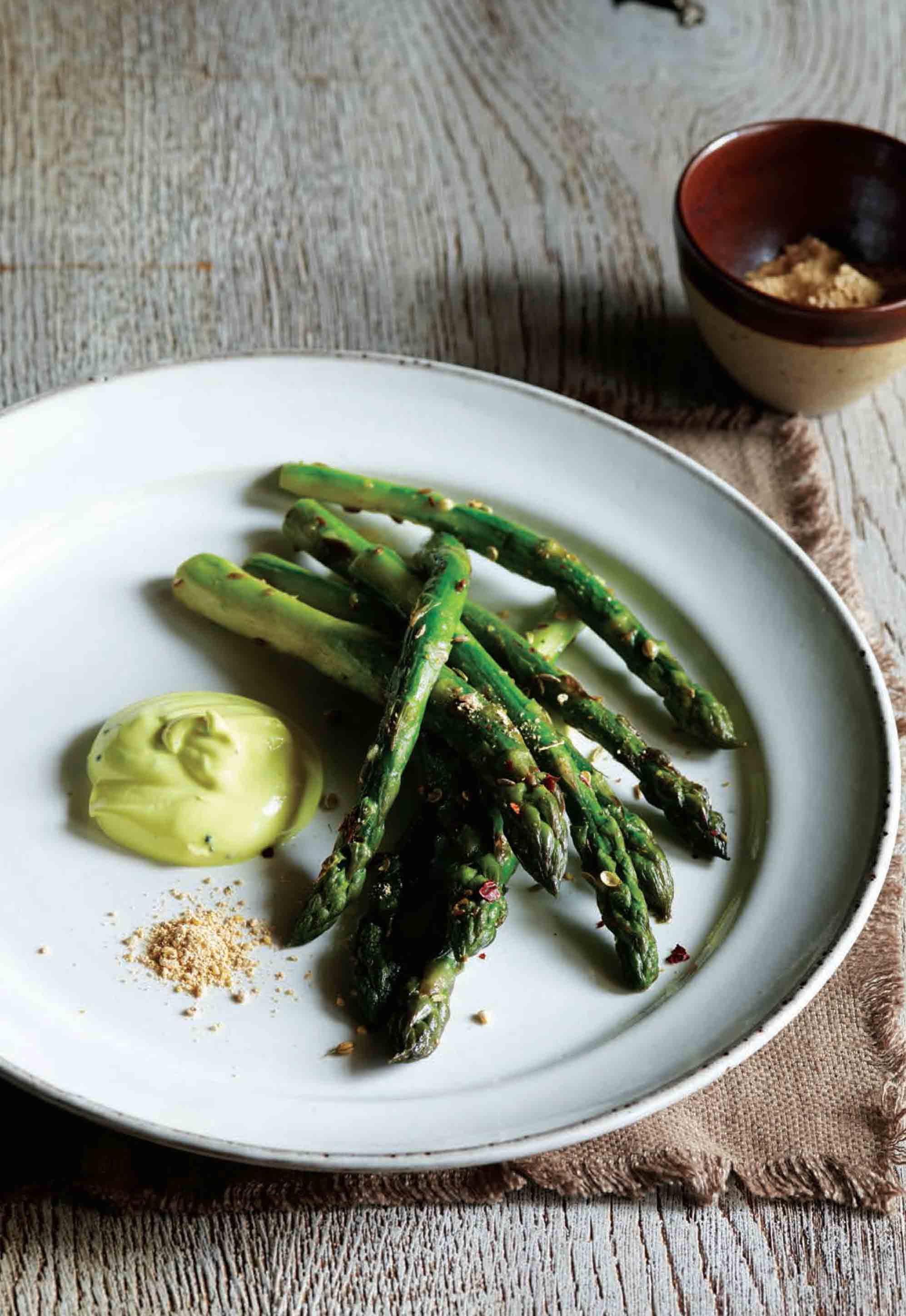 Asparagus with curried yoghurt and gunpowder