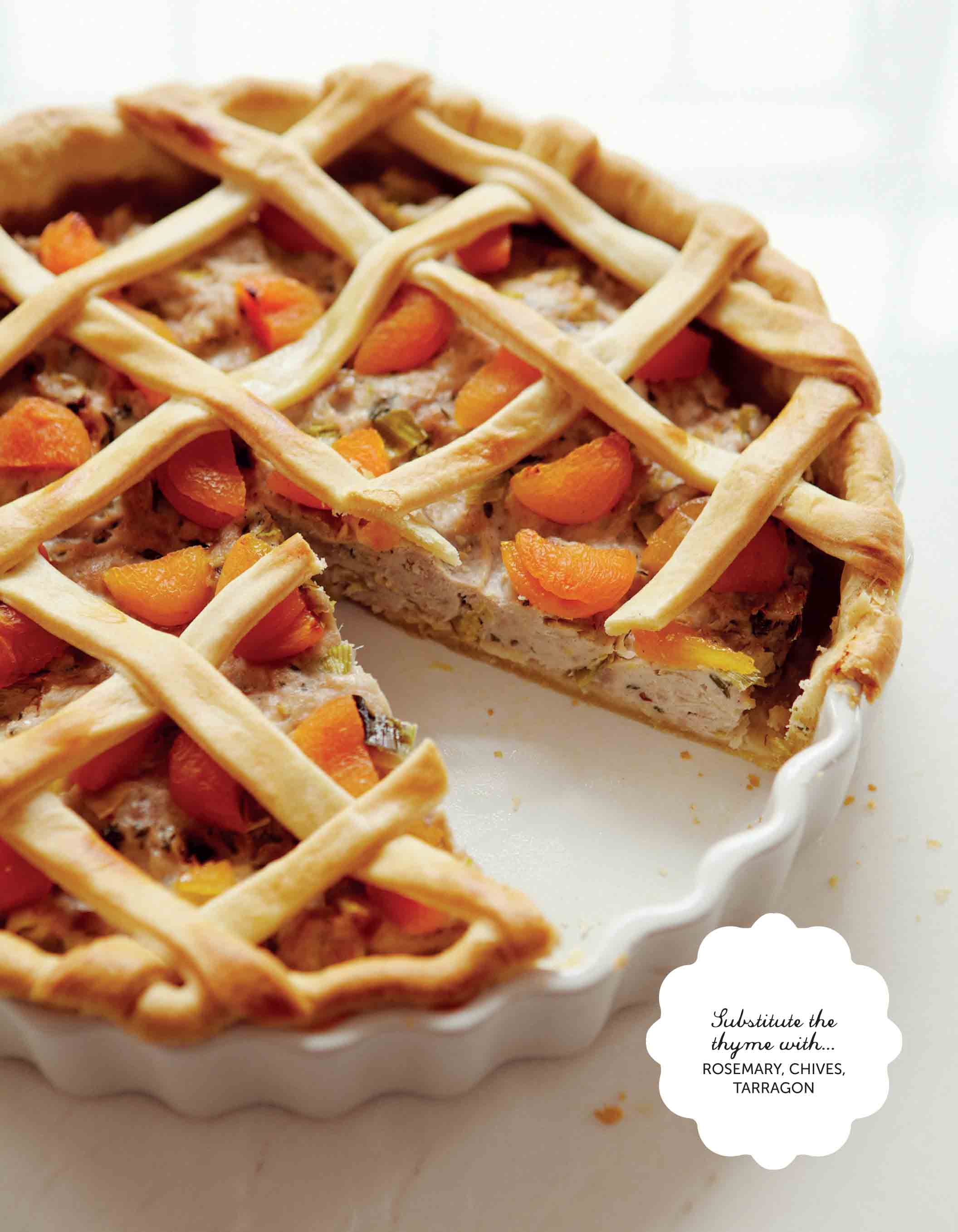 Apricot, thyme and chicken pie