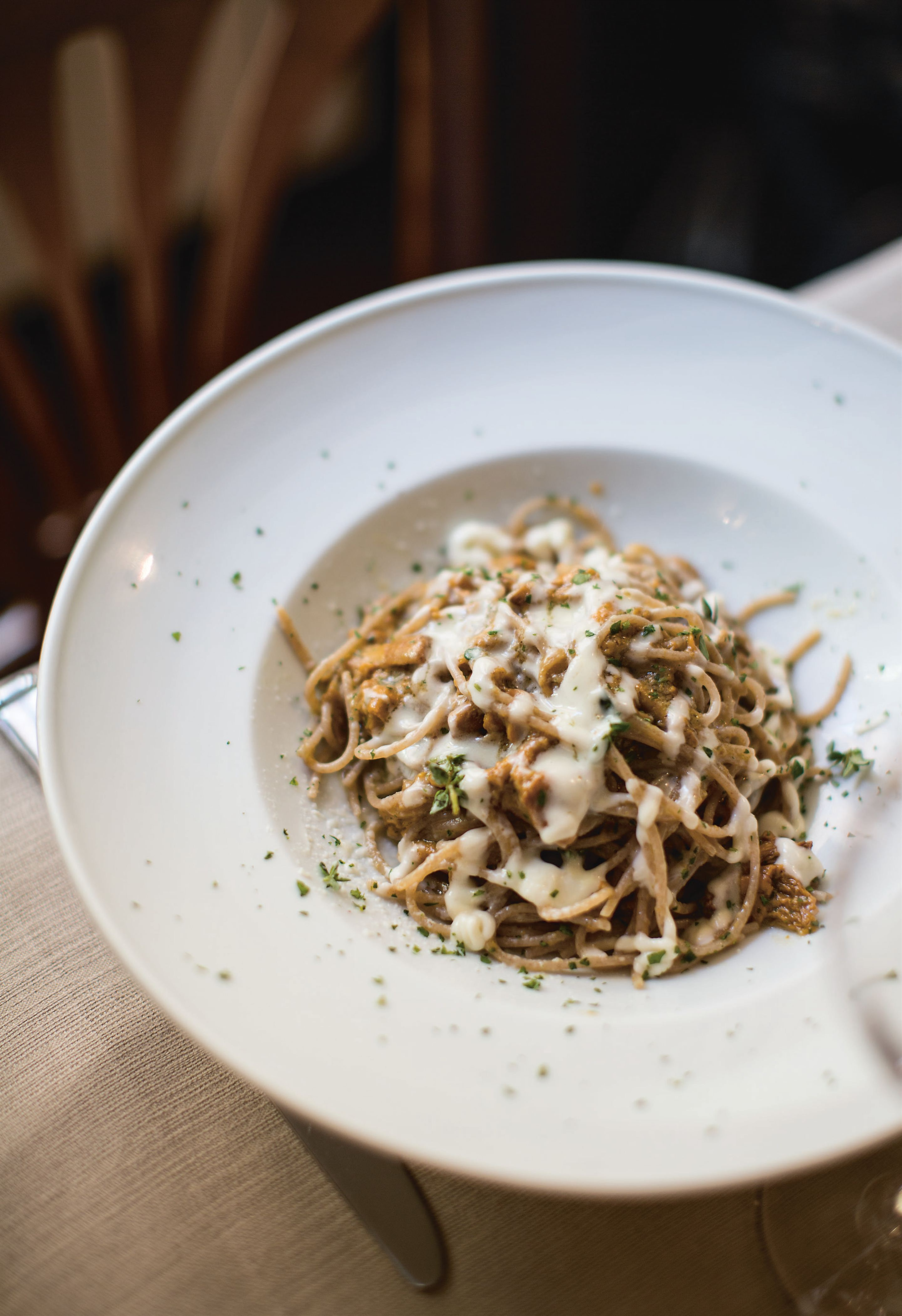 Spelt spaghetti with wild mushrooms and Parmesan cream