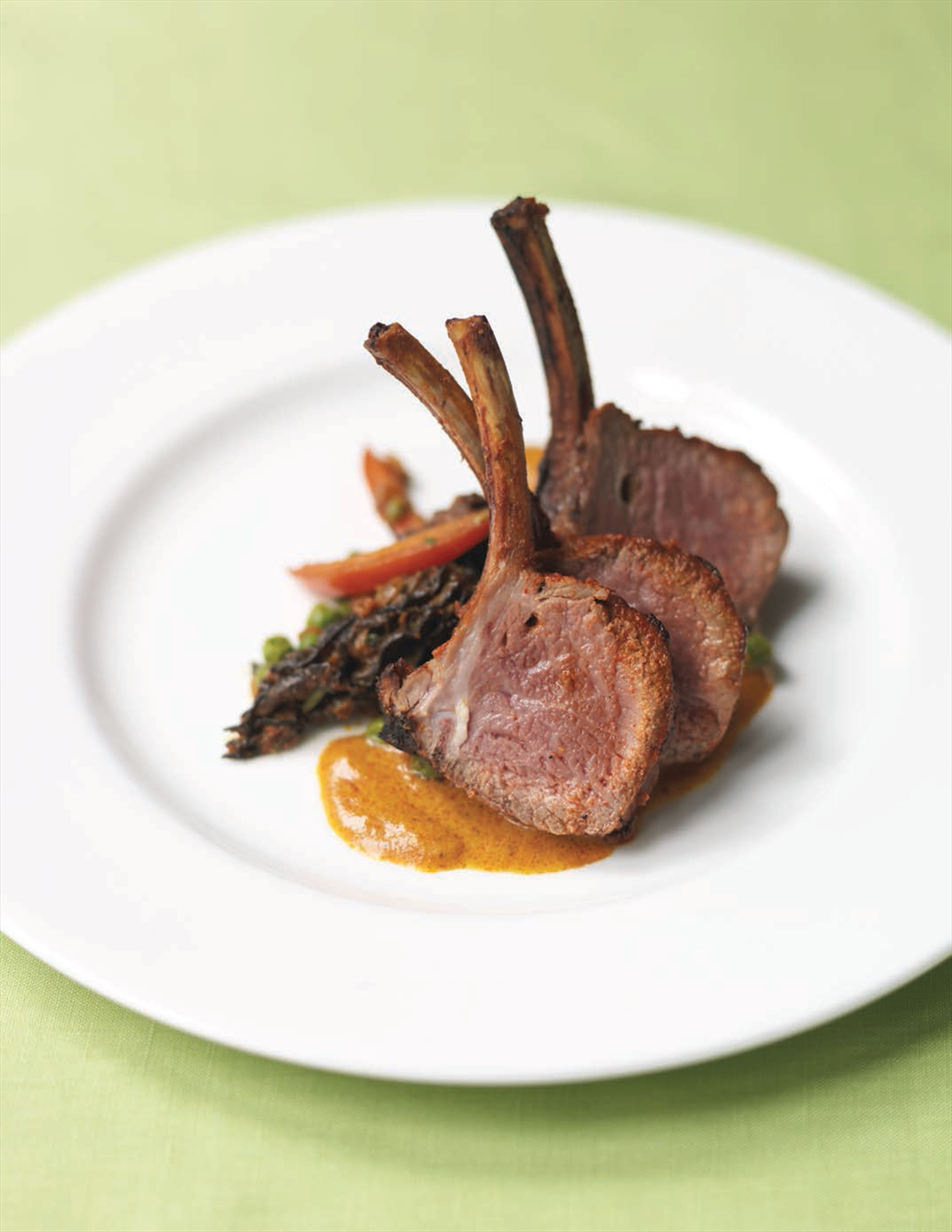 Rack of lamb with saffron sauce