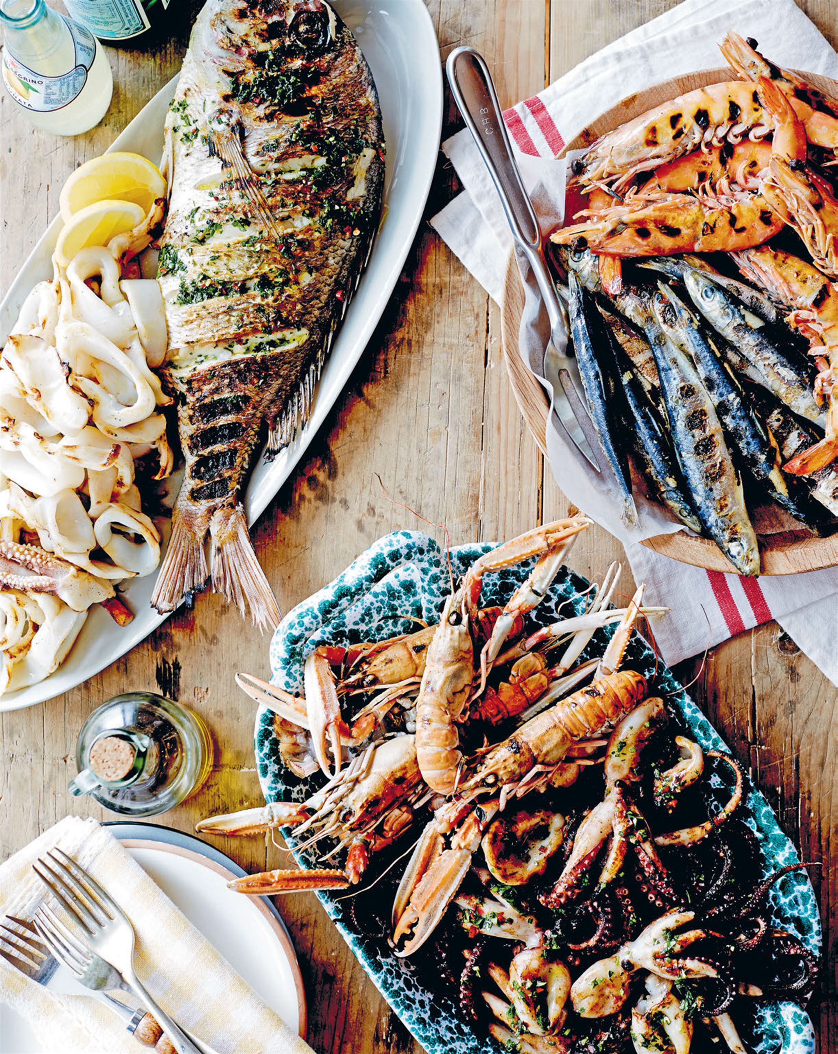 Fire-grilled fish and seafood