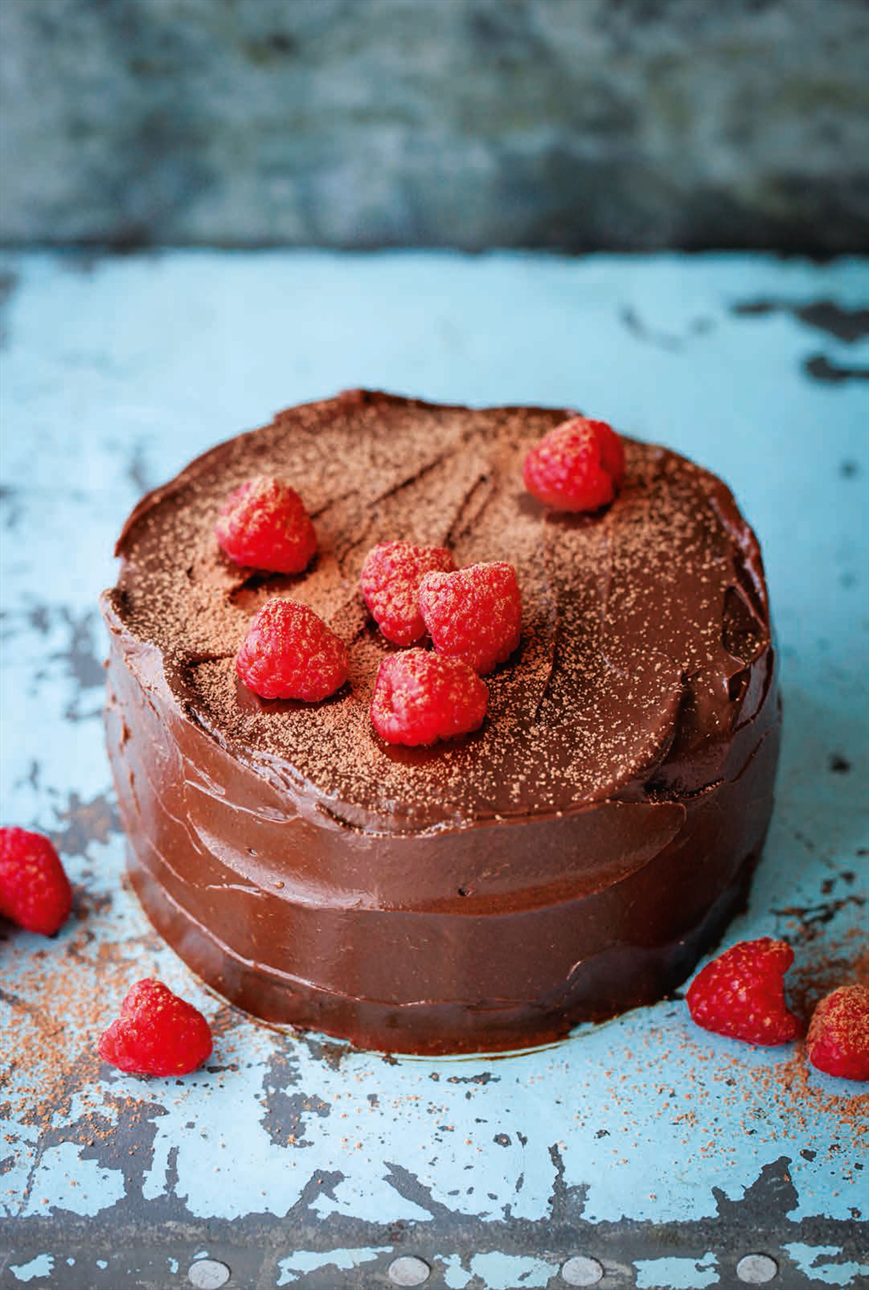 Raw cacao, avocado & raspberry cake