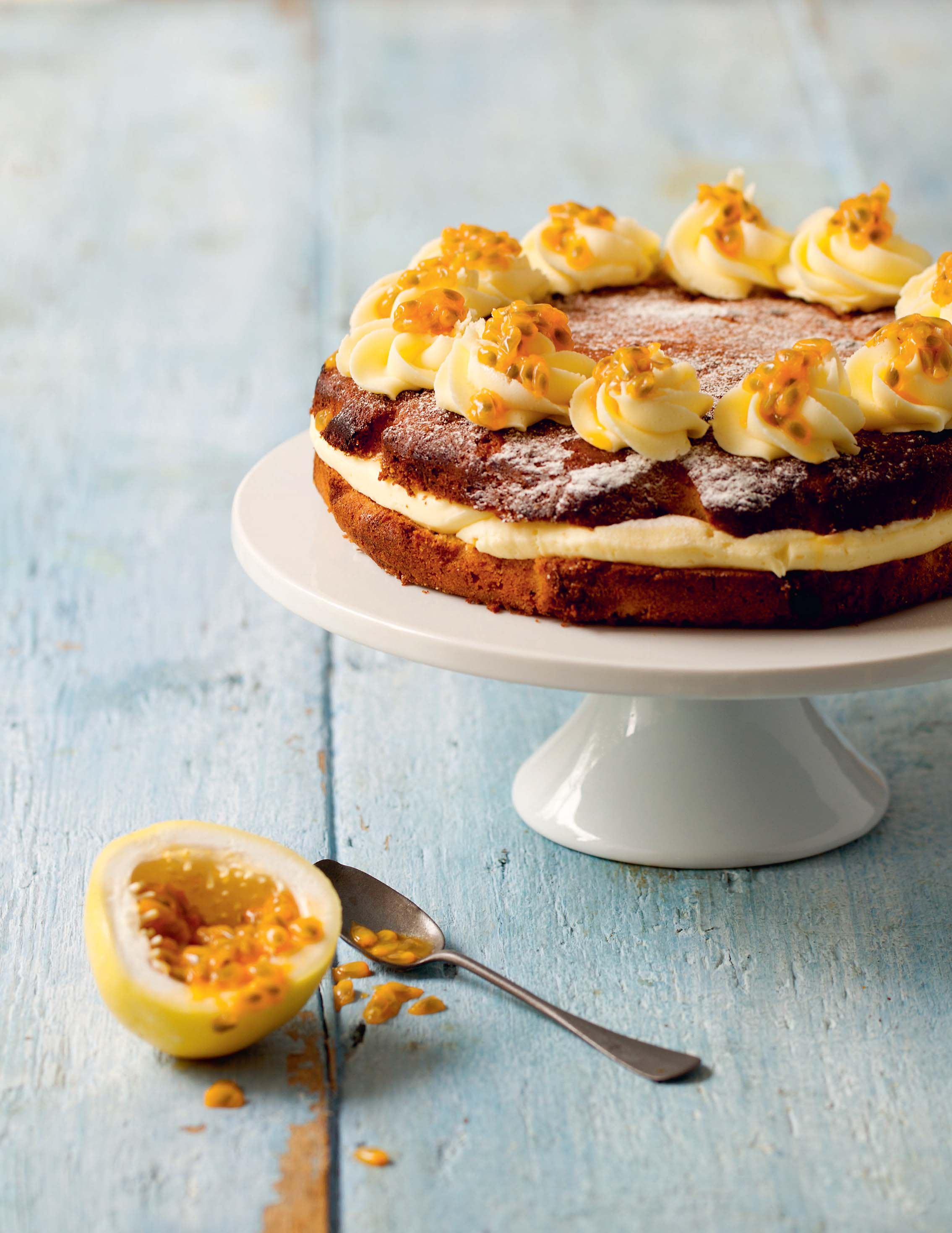 Banana and passion fruit cake