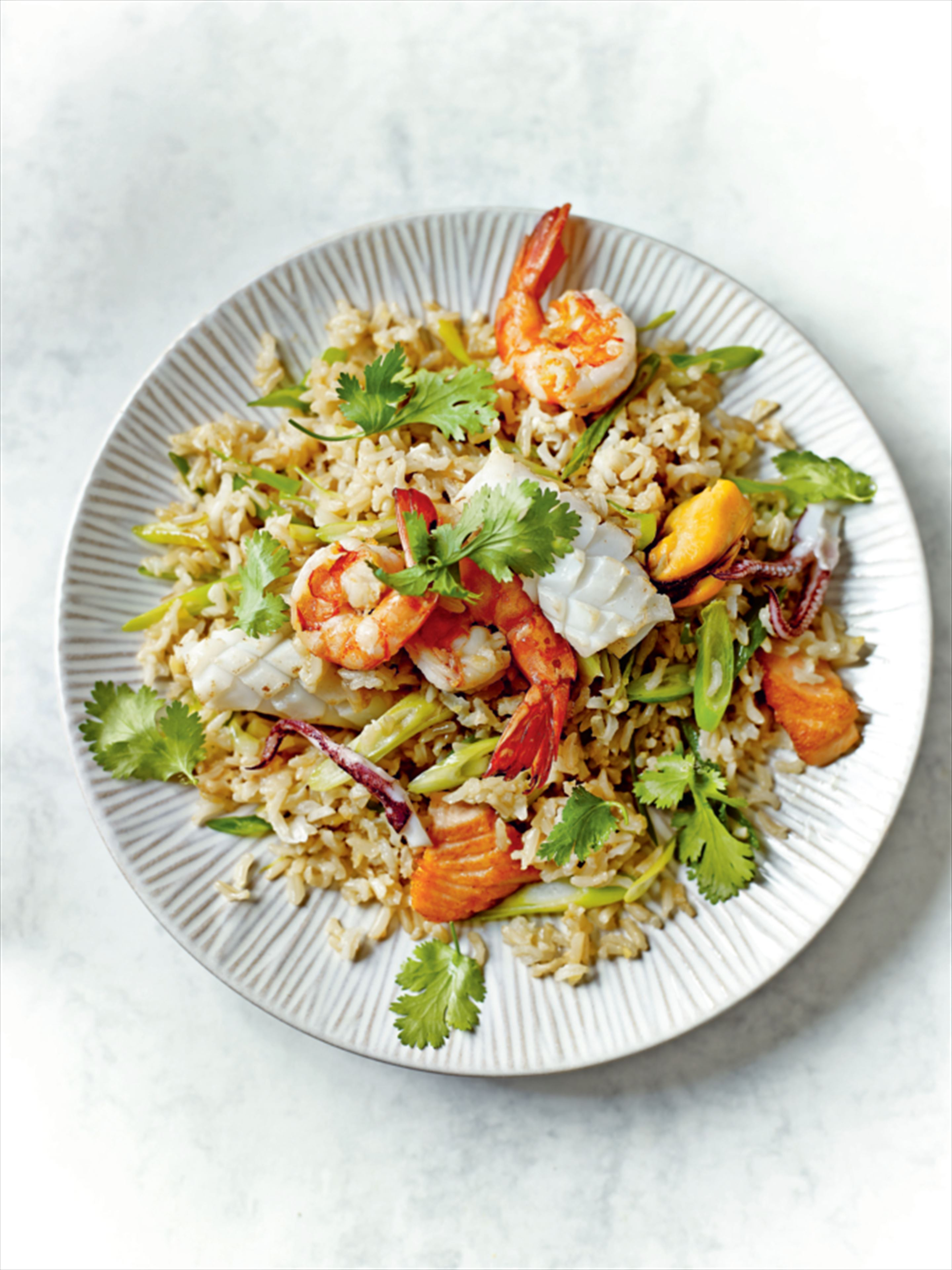 Seafood brown rice with lemon grass and coriander