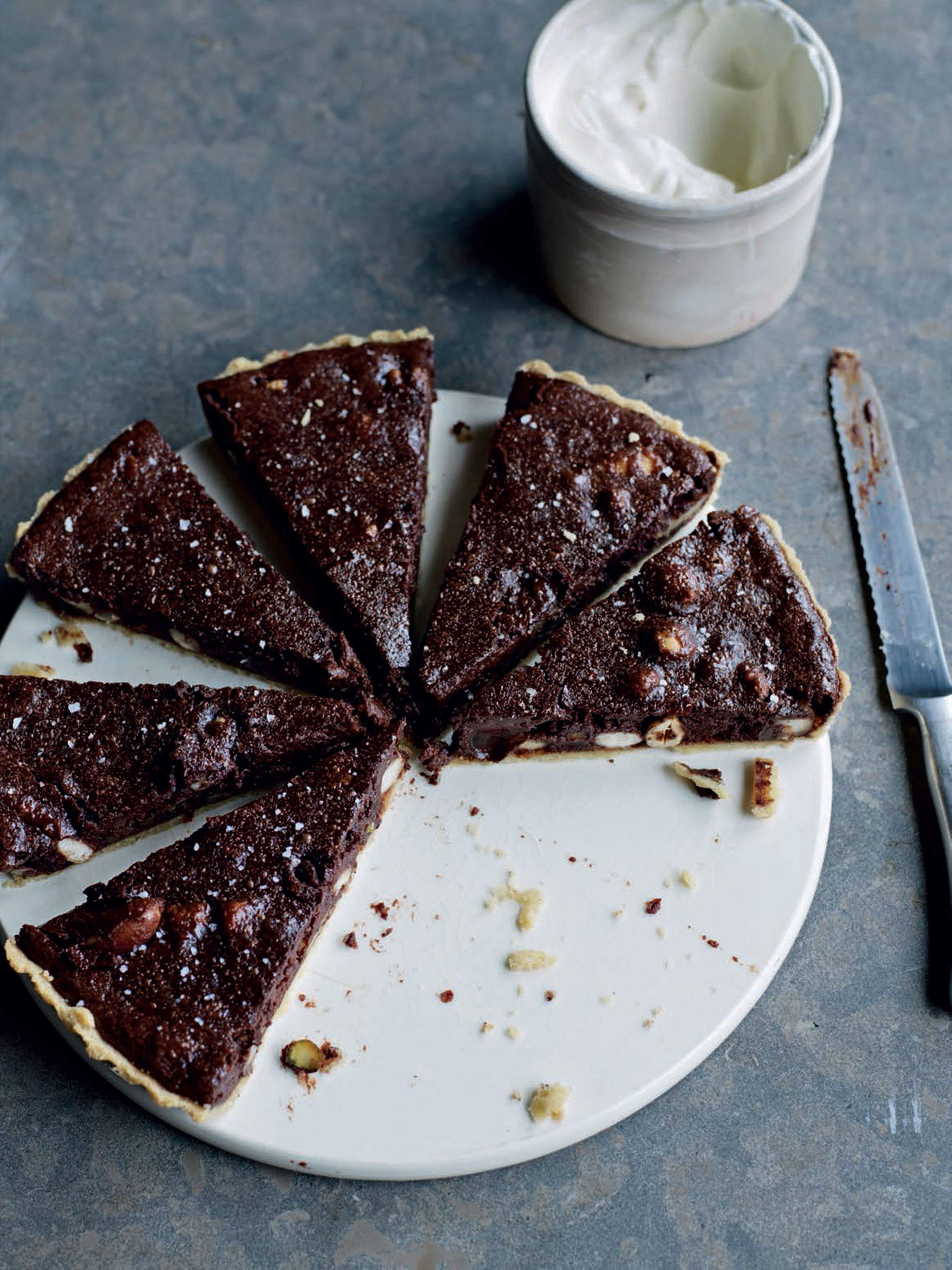 Spiced chocolate and nut tart