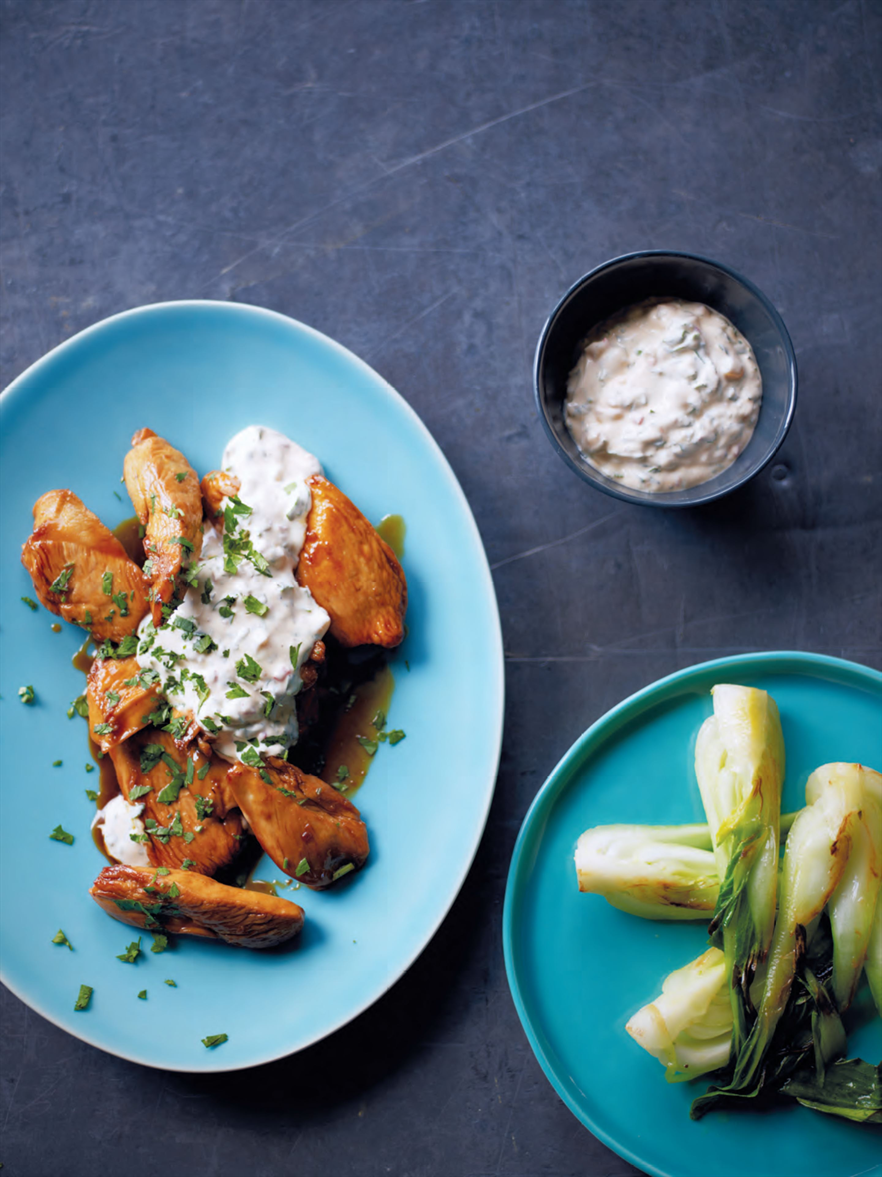 Chicken with coriander yoghurt chutney