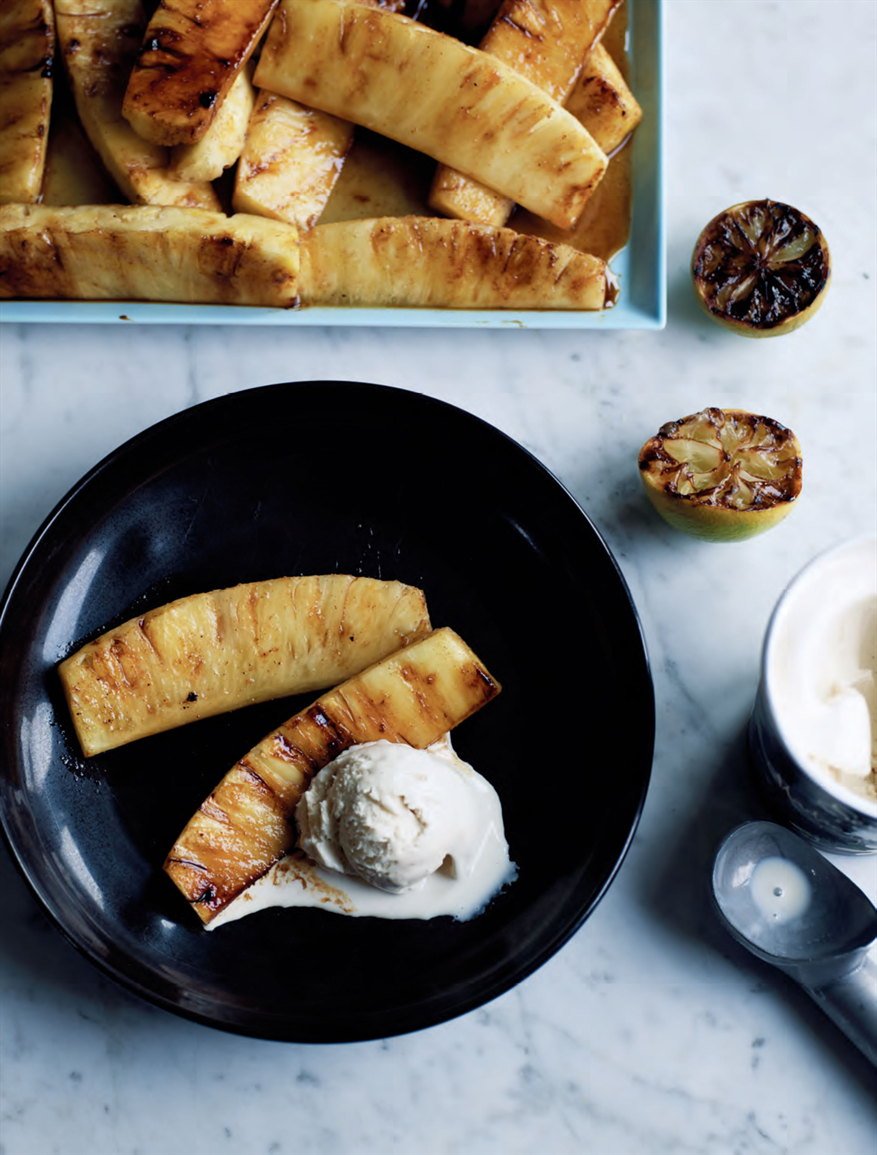 Spiced charred pineapple with ice cream