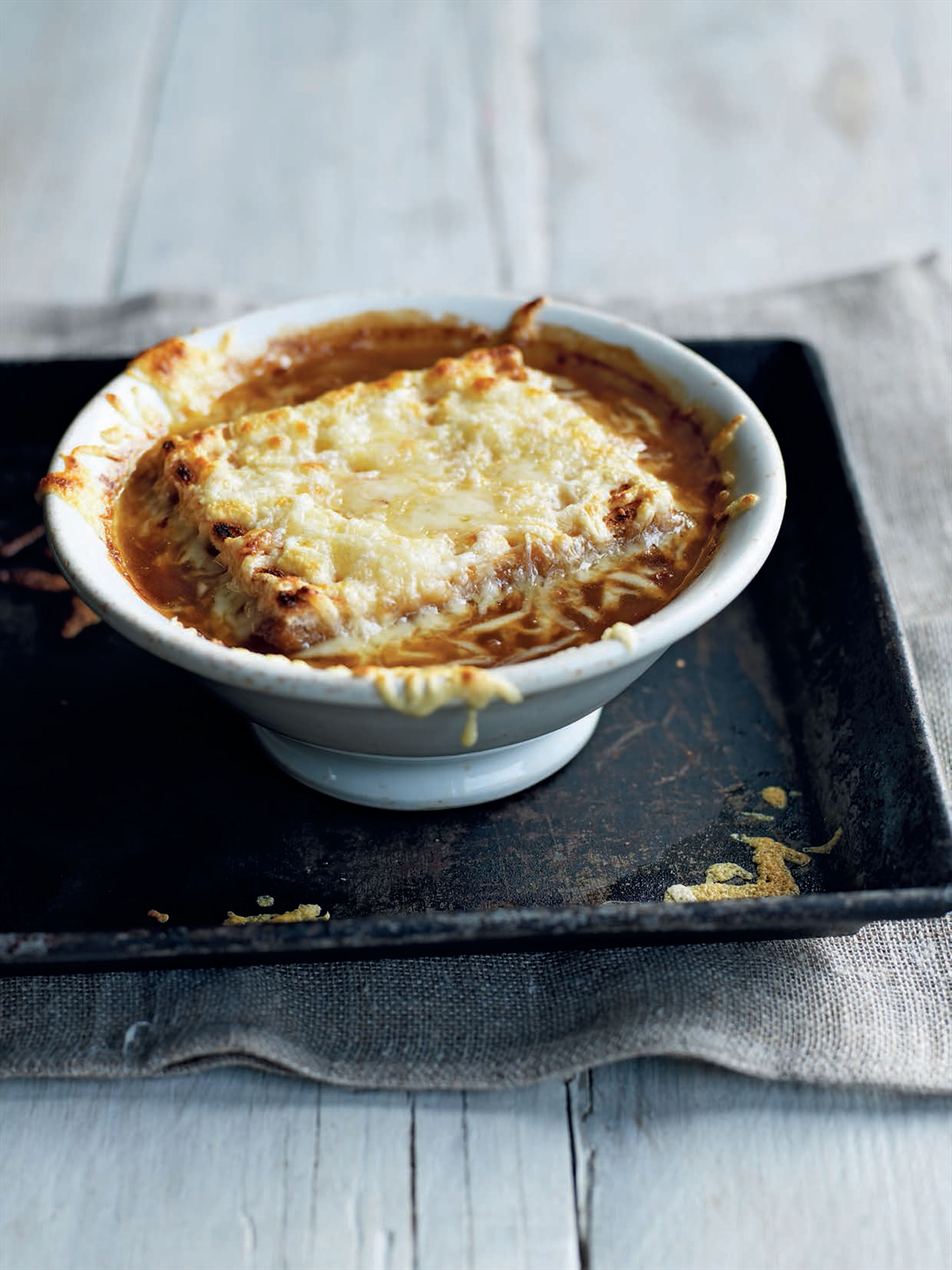 French onion soup with melted Gruyère