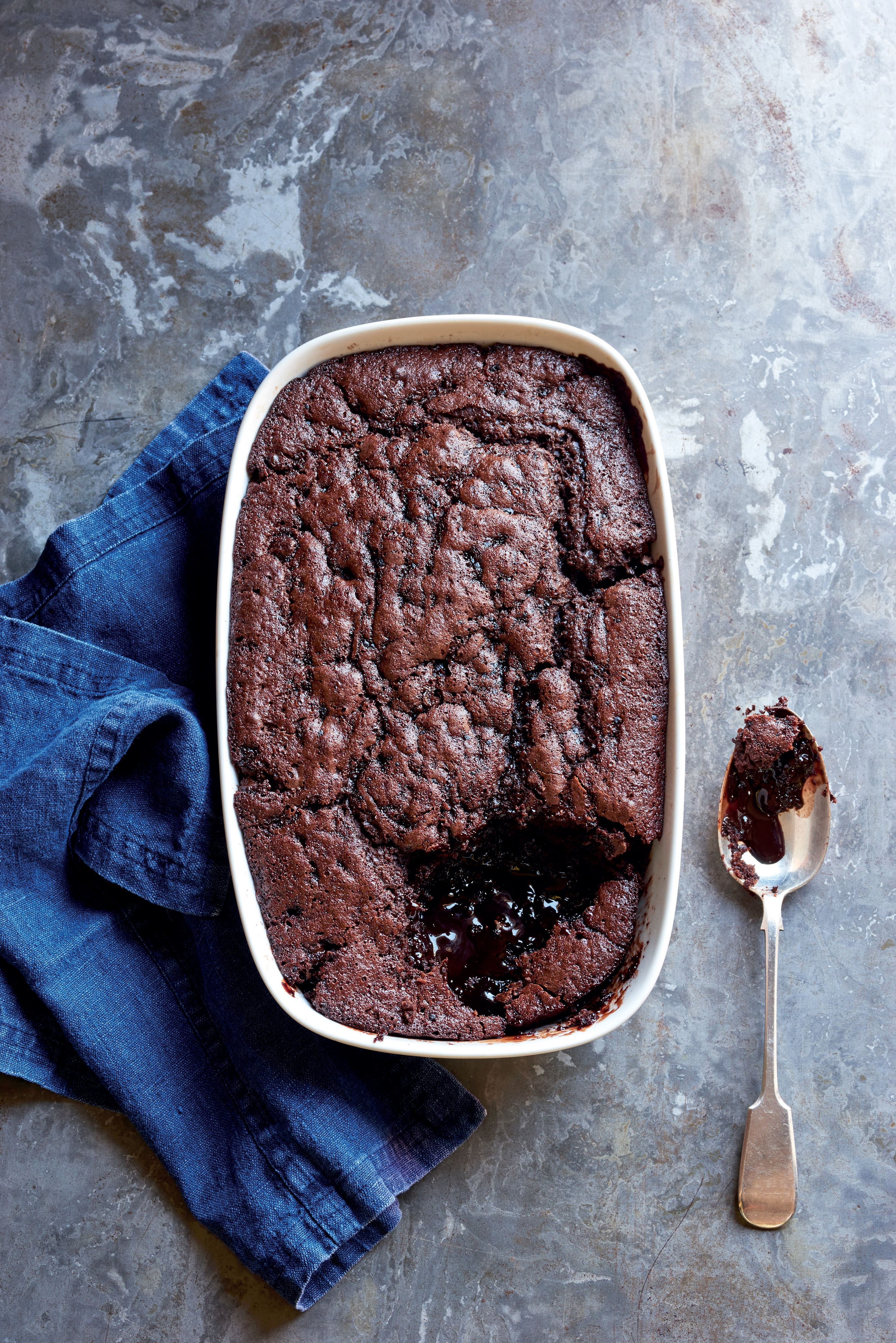 Baked double chocolate pudding