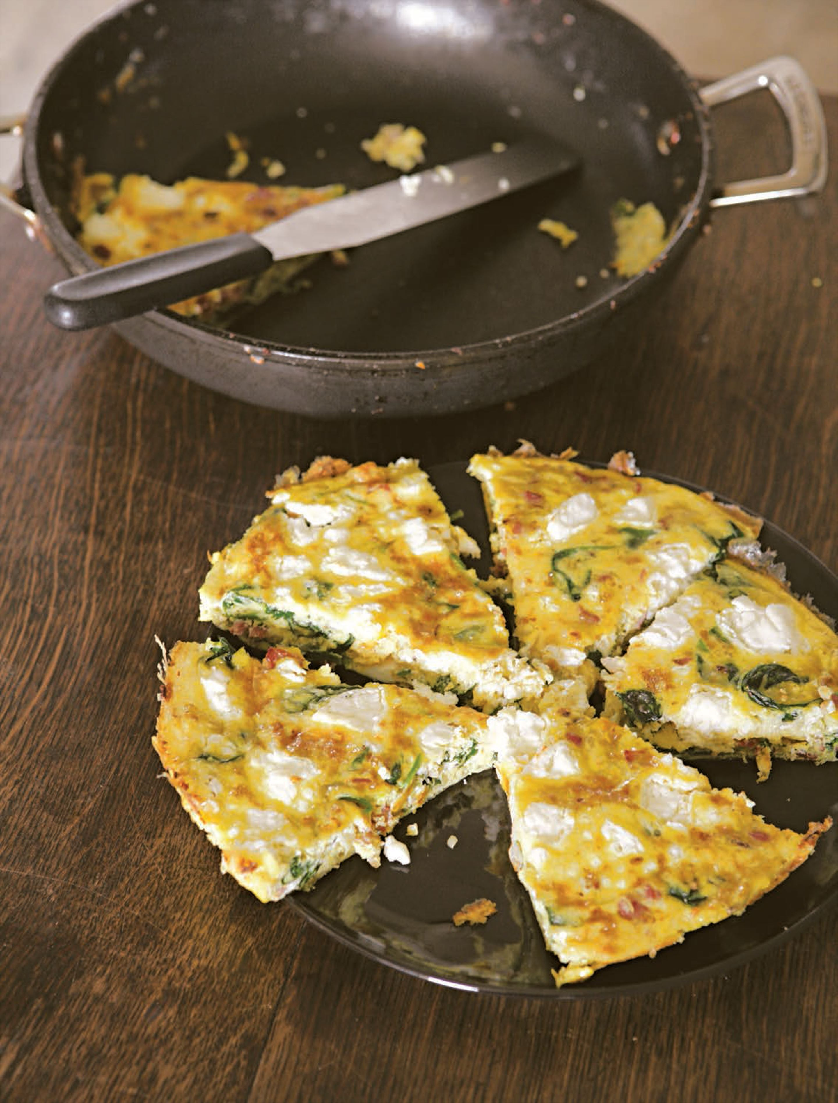 Spinach, bacon and goat's cheese frittata