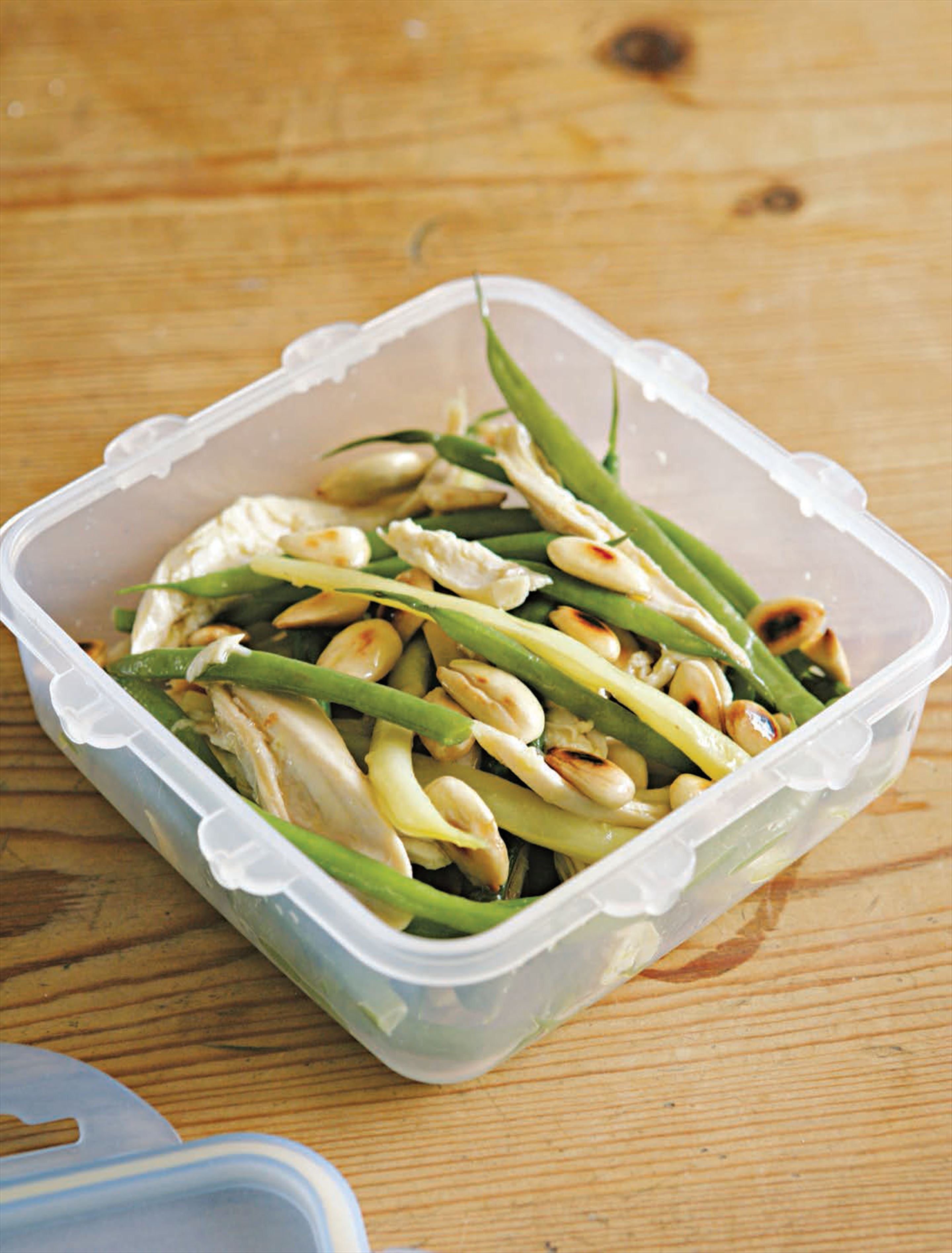 Chicken, French bean and almond salad