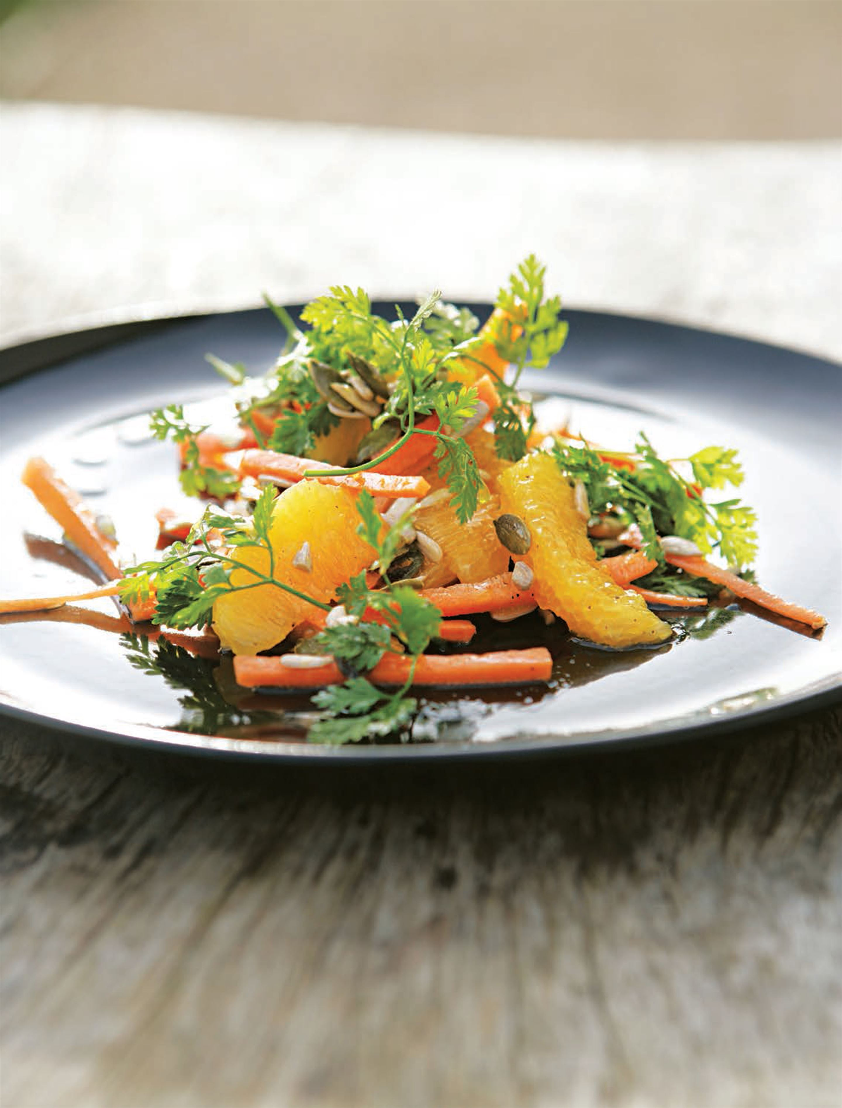 Carrot, orange and chervil salad