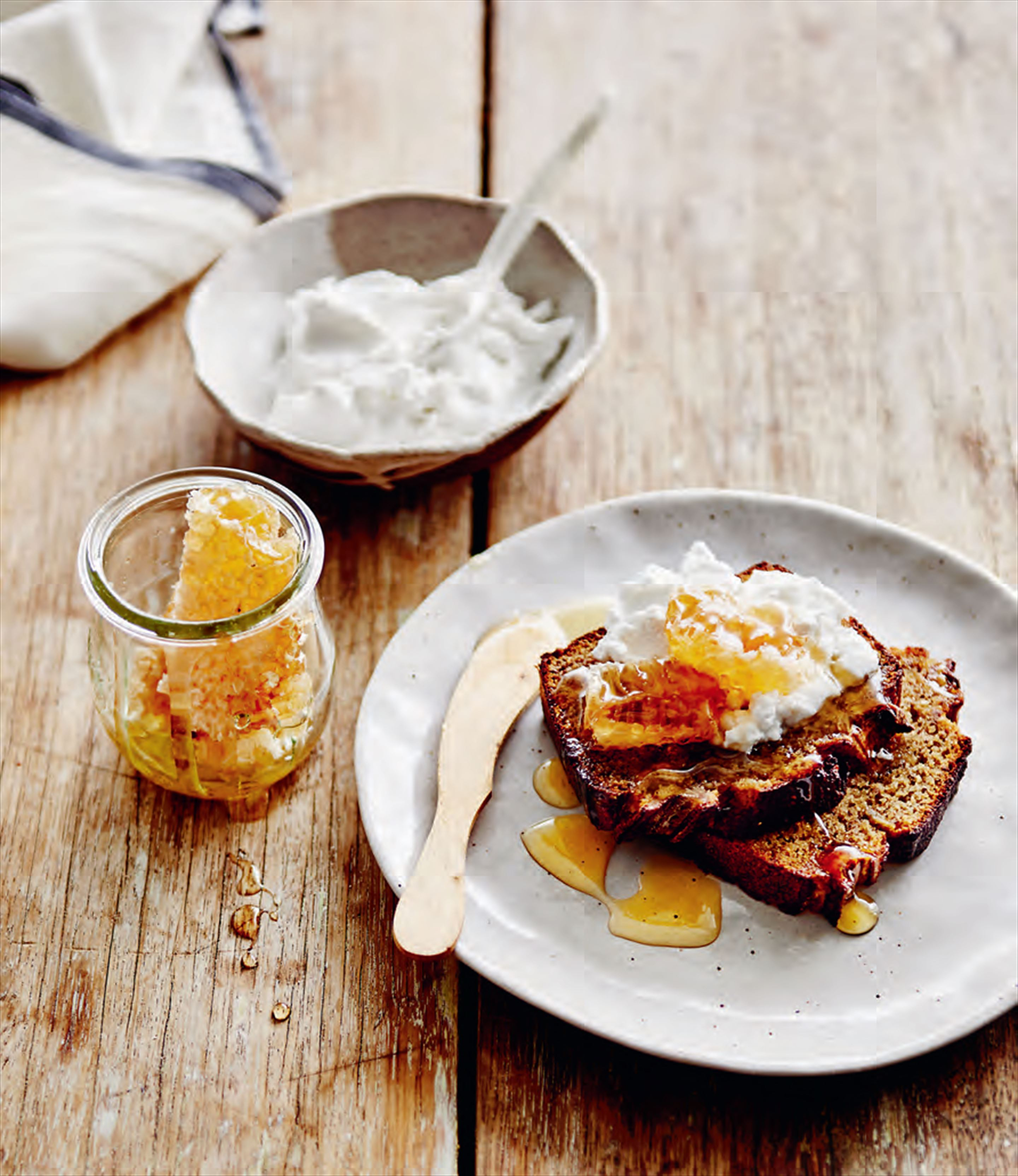 Banana, almond & chia bread with coconut yoghurt