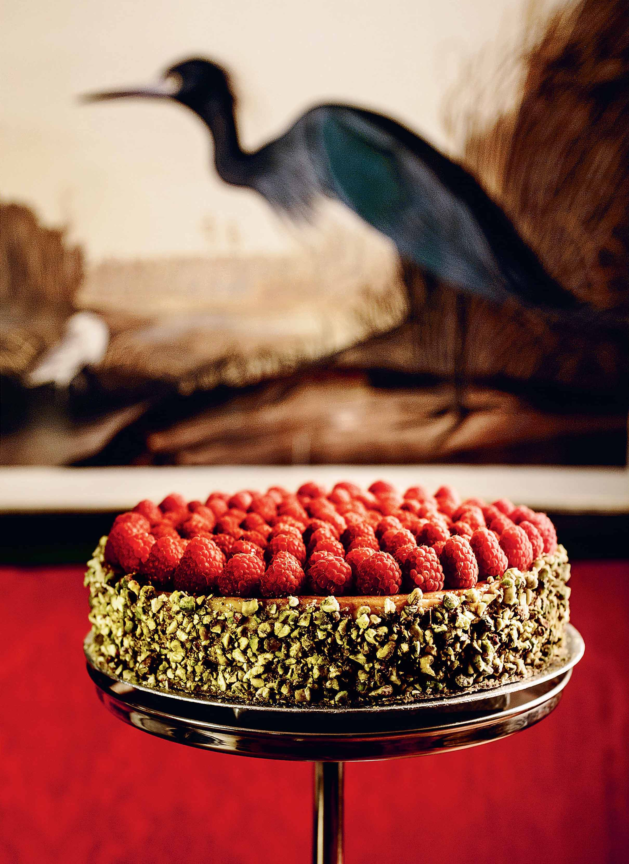 Pistachio and raspberry cheesecake