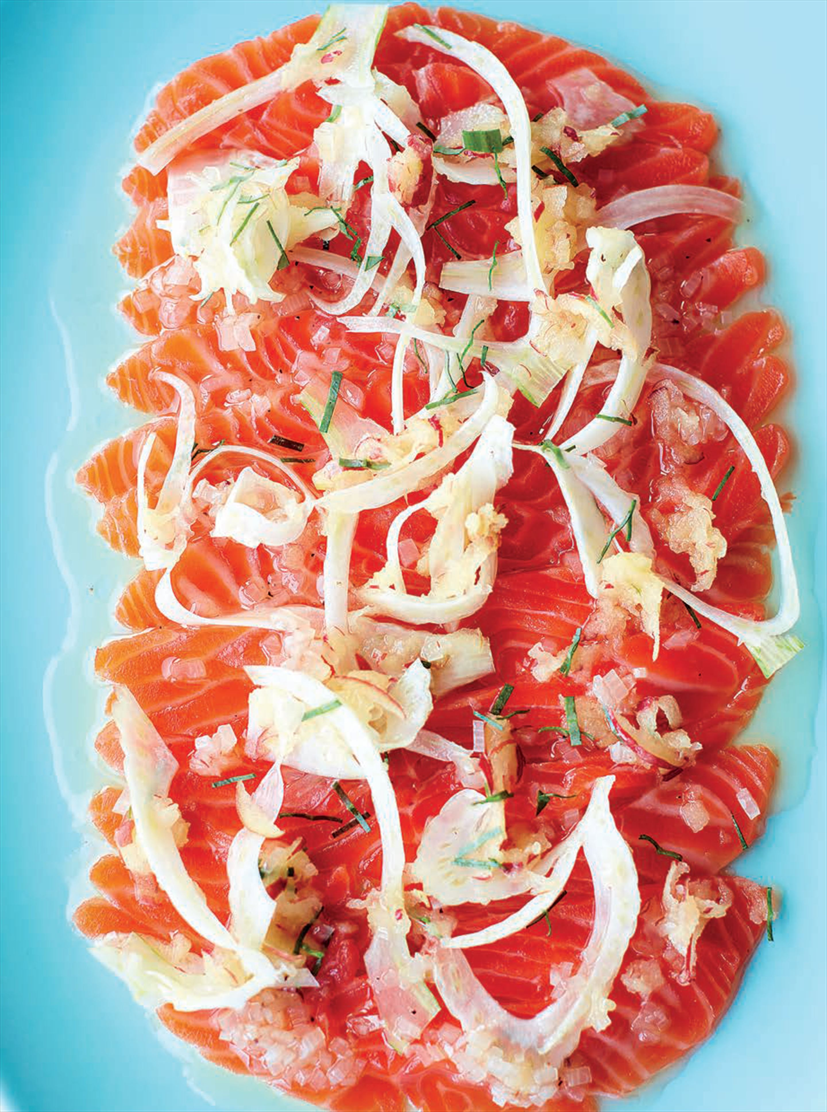 Gin-cured sea trout with apple and fennel