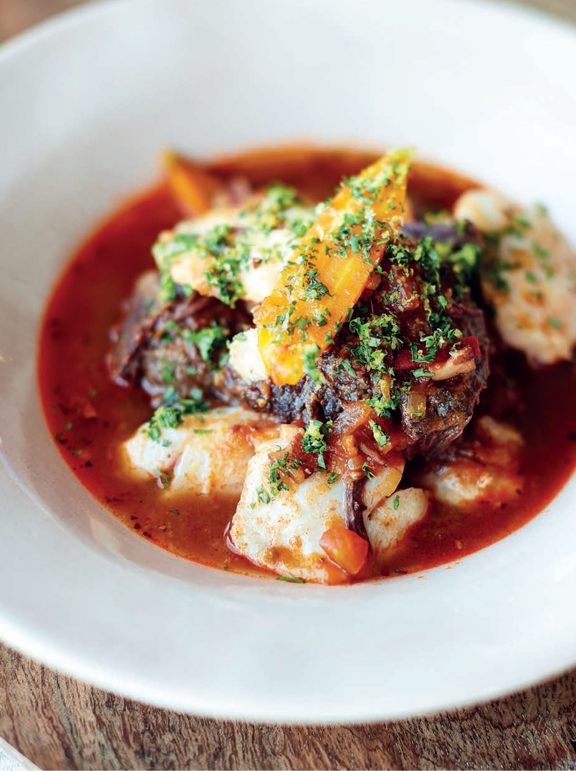 Cod and ox cheek stew