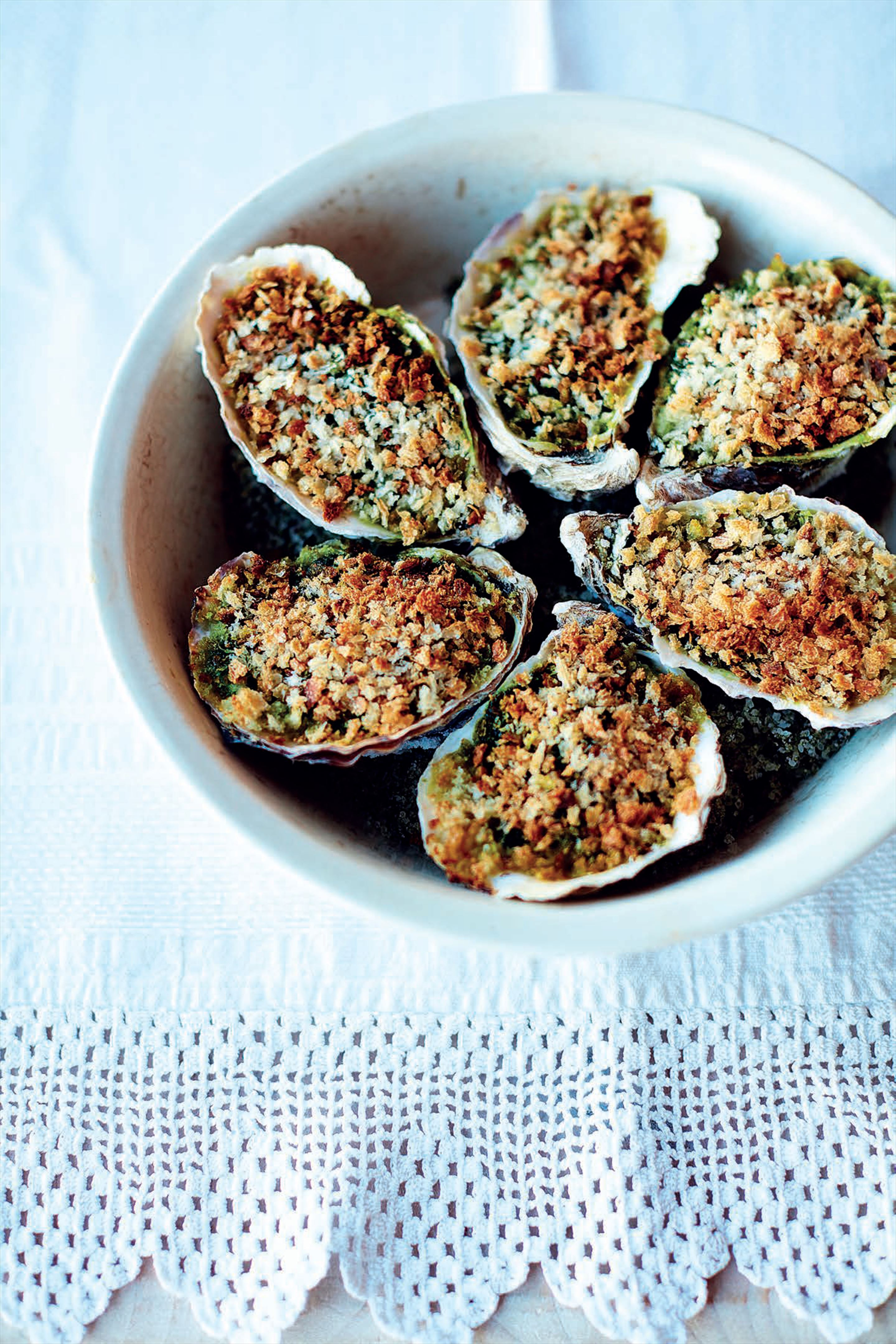 Baked oysters with watercress and anise butter