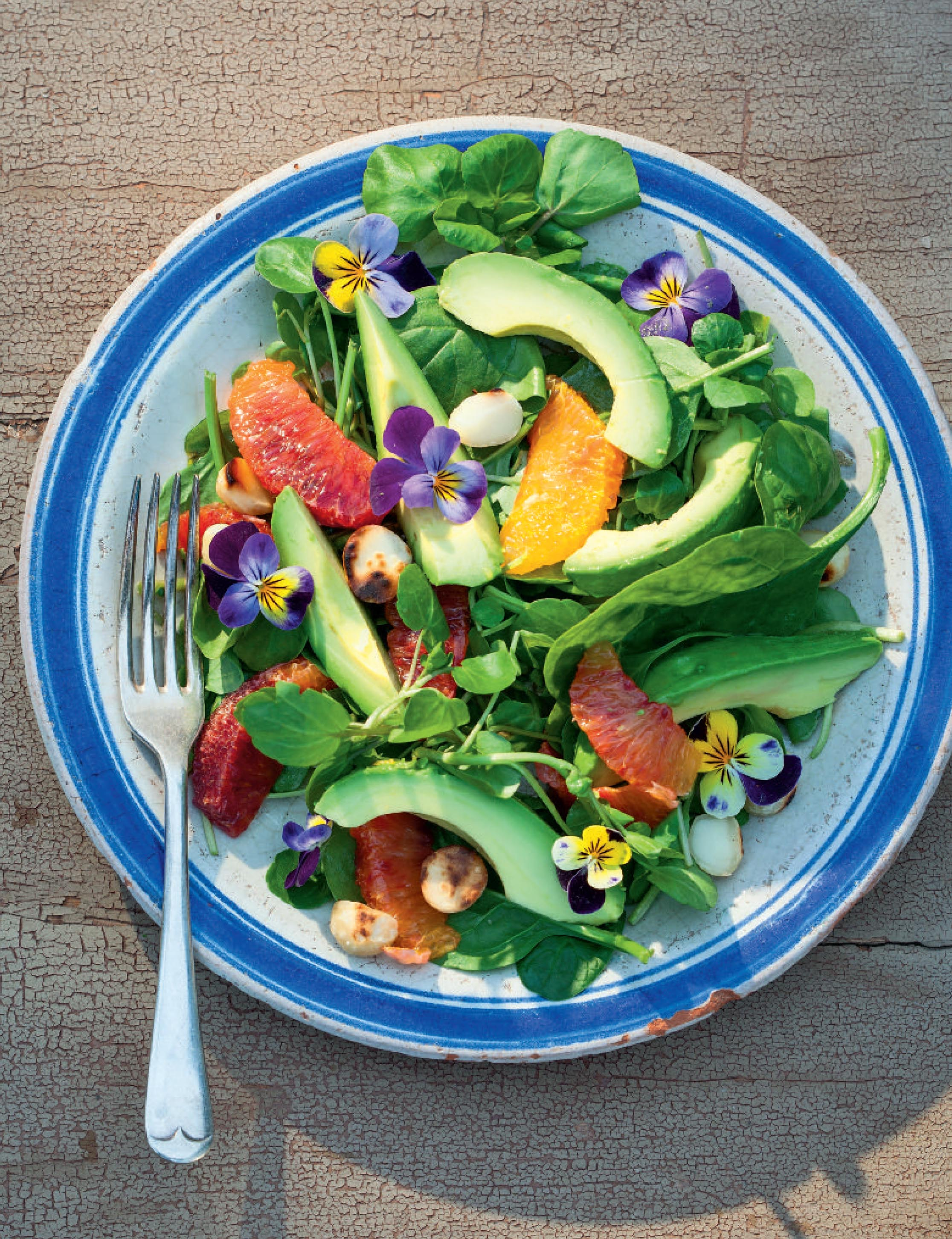 Avocado, watercress and blood orange salad