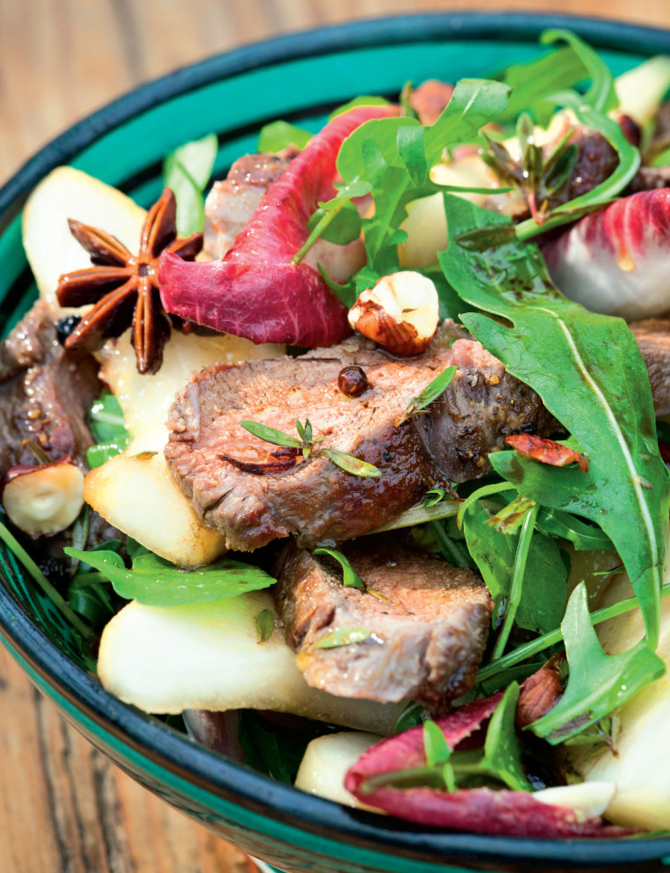 Venison and pickled pear salad