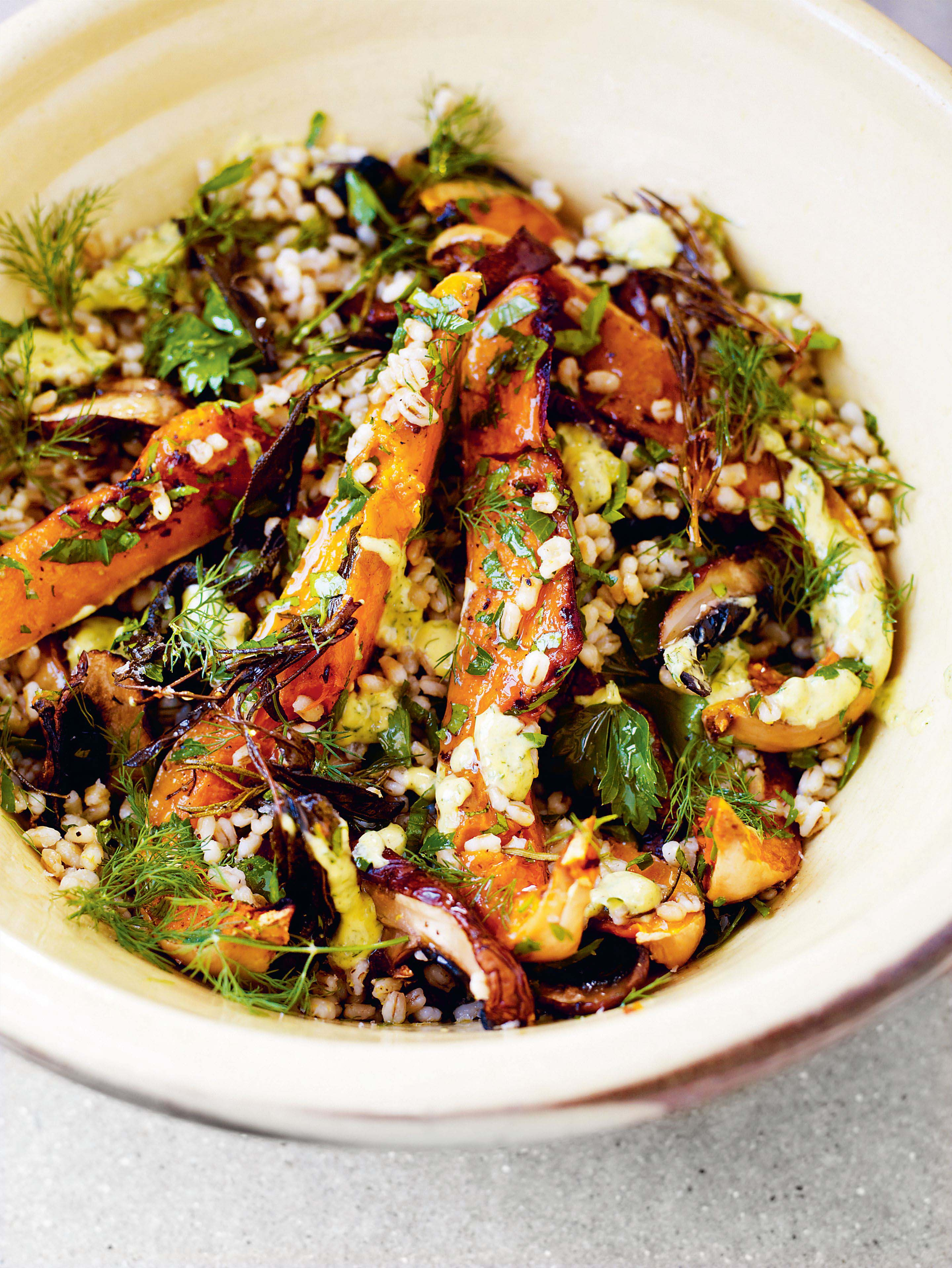 Barley, squash & mushrooms with herb & crème fraîche dressing