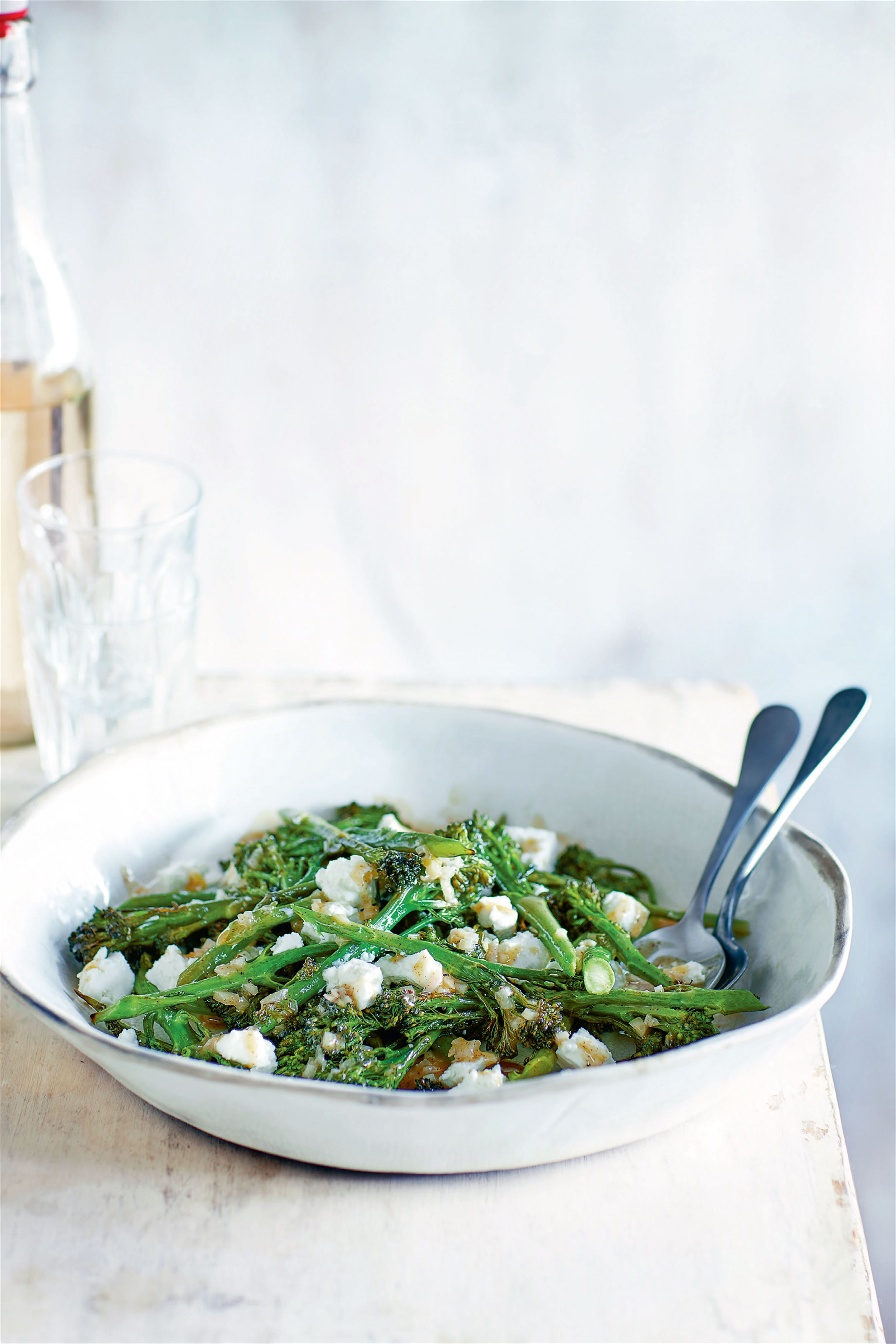 Seared tenderstem broccoli with goat's cheese and walnut salad
