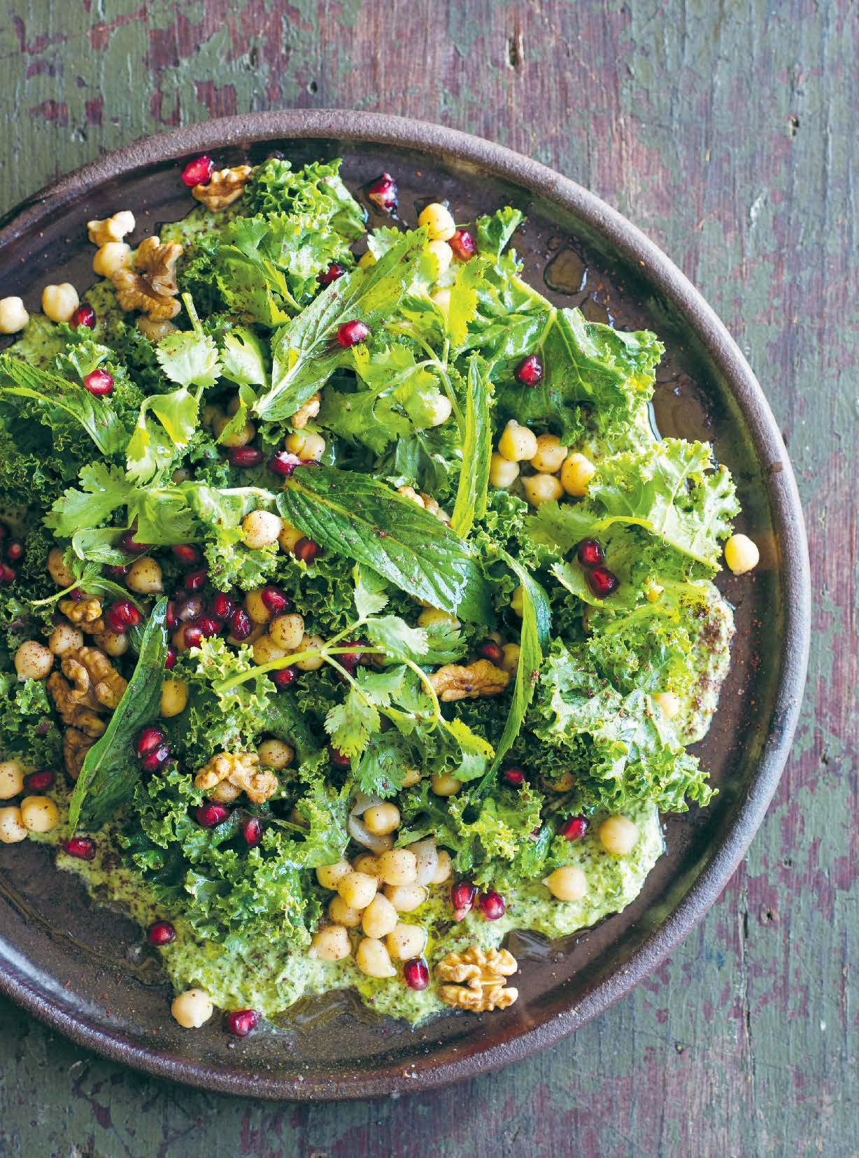 Salted kale with chickpeas and green tahini