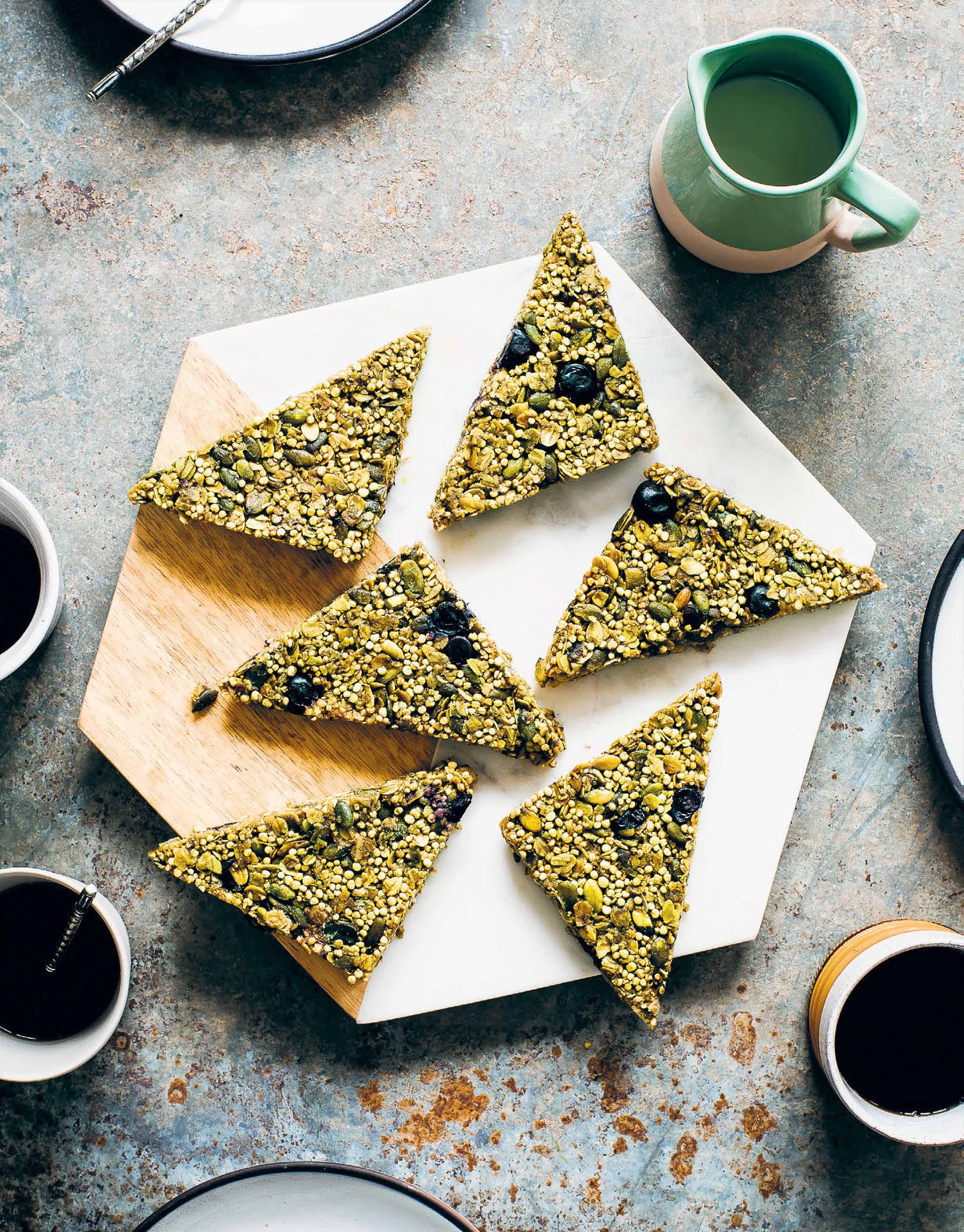 Matcha, quinoa & blueberry sails