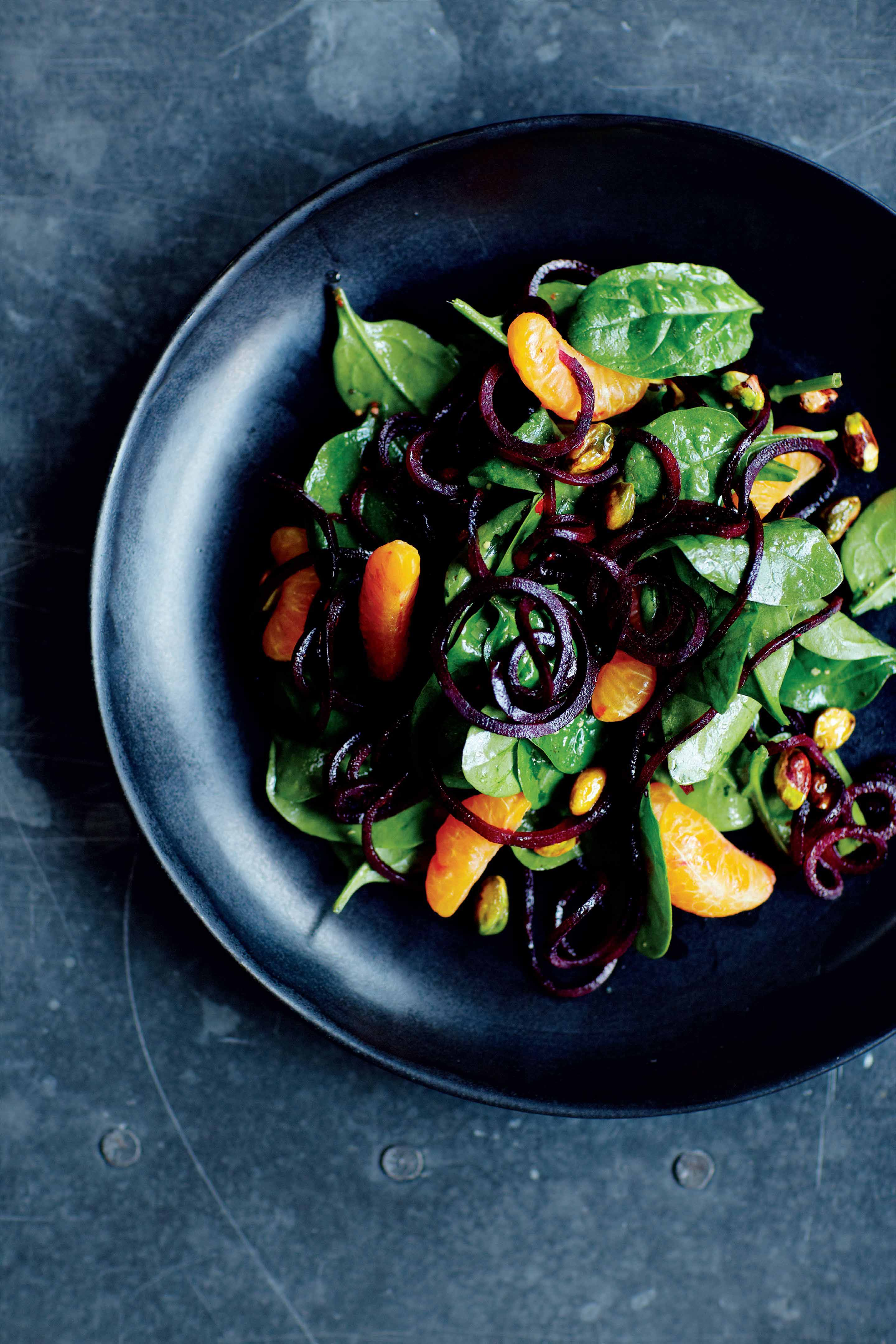 Beetroot noodle salad with clementine and pistachios
