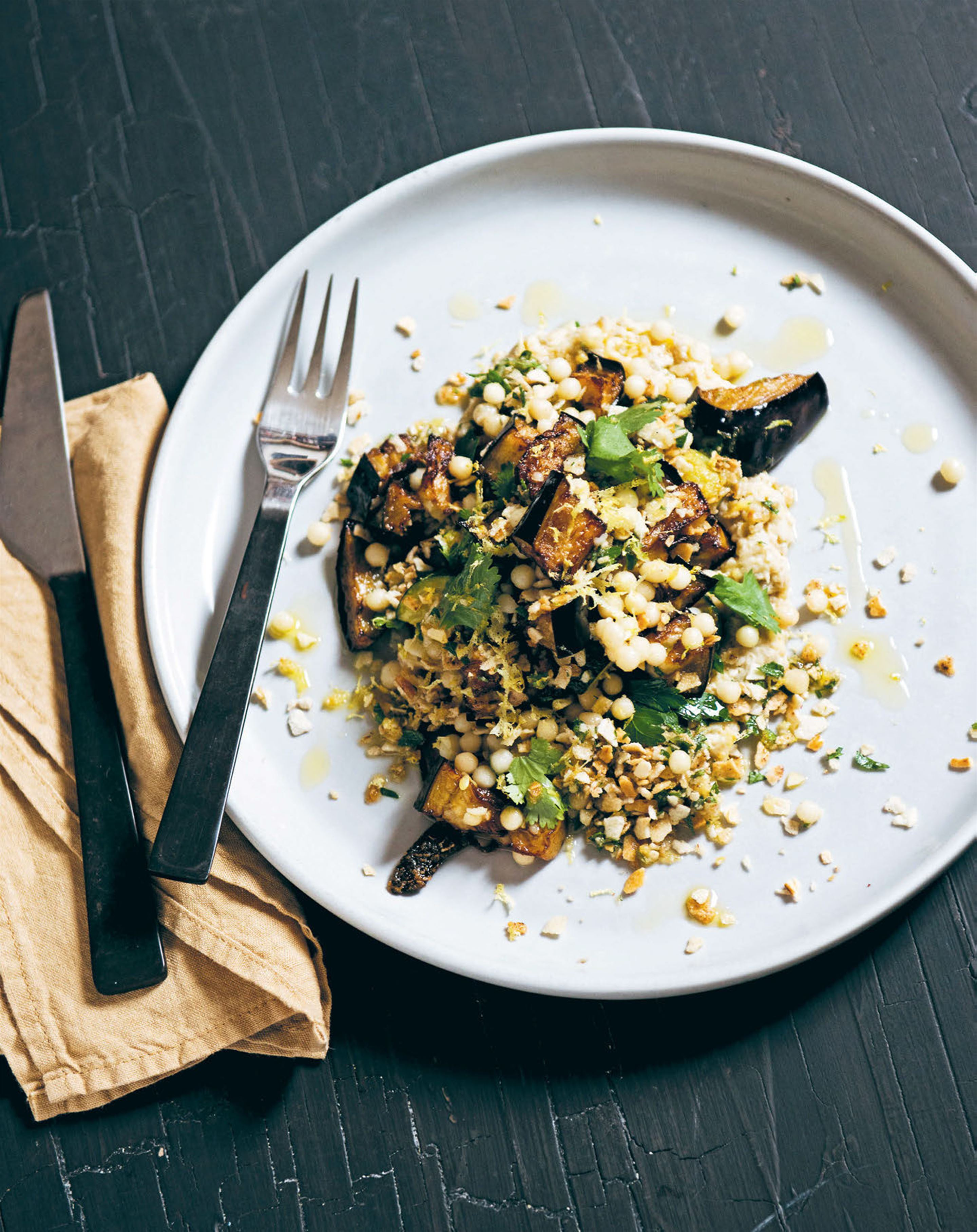 Grilled zucchini with couscous, smoked eggplant & pangritata