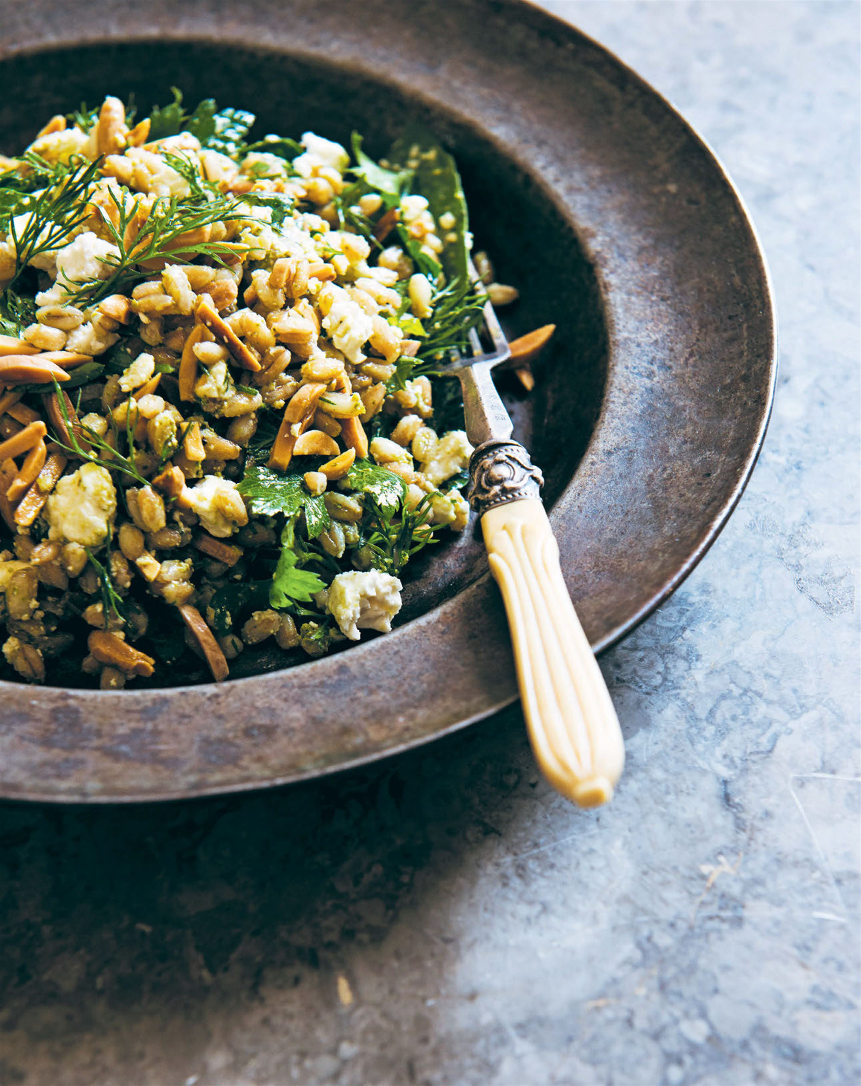 Farro, Persian feta & almond salad