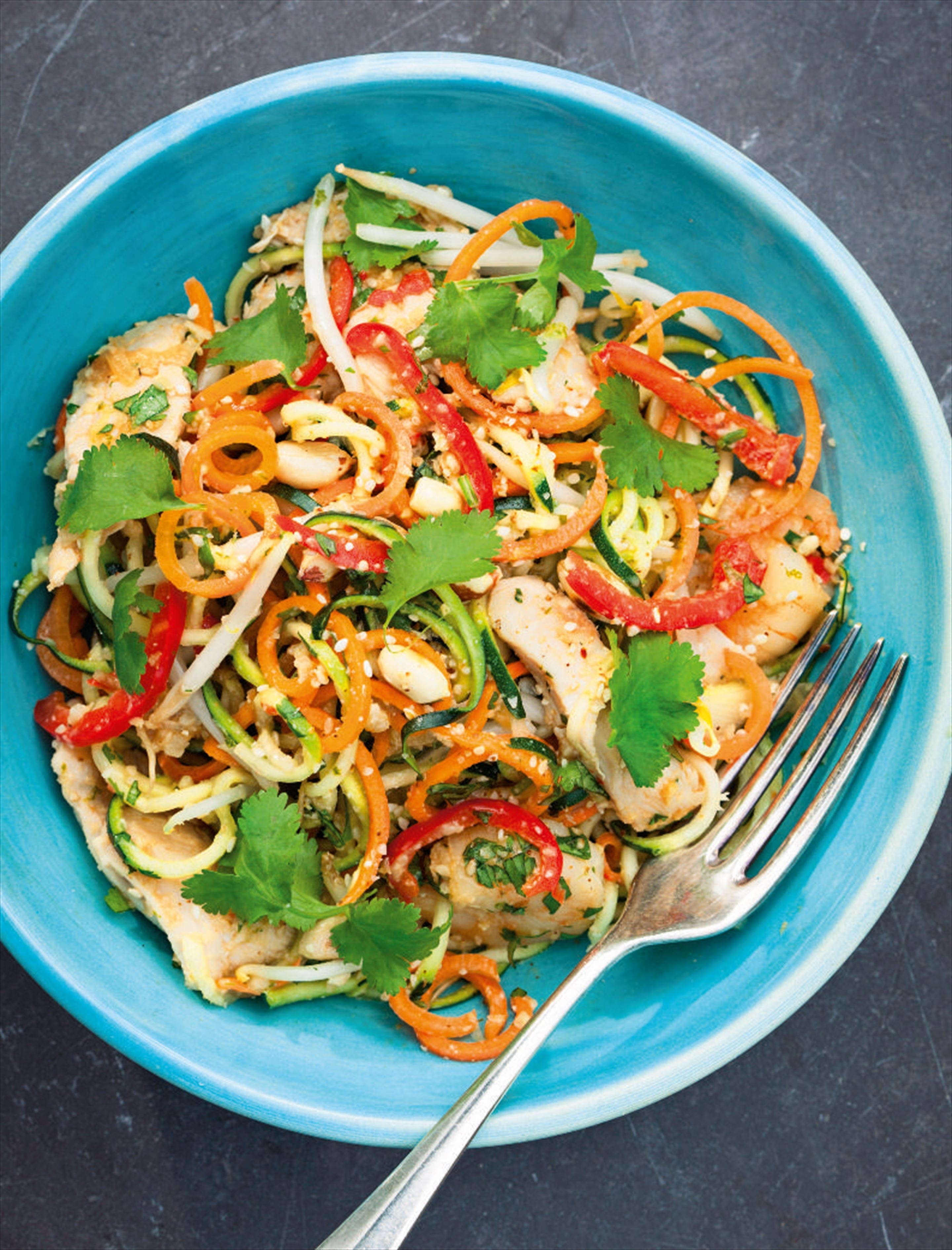 Warm Asian vegetable 'noodle' salad