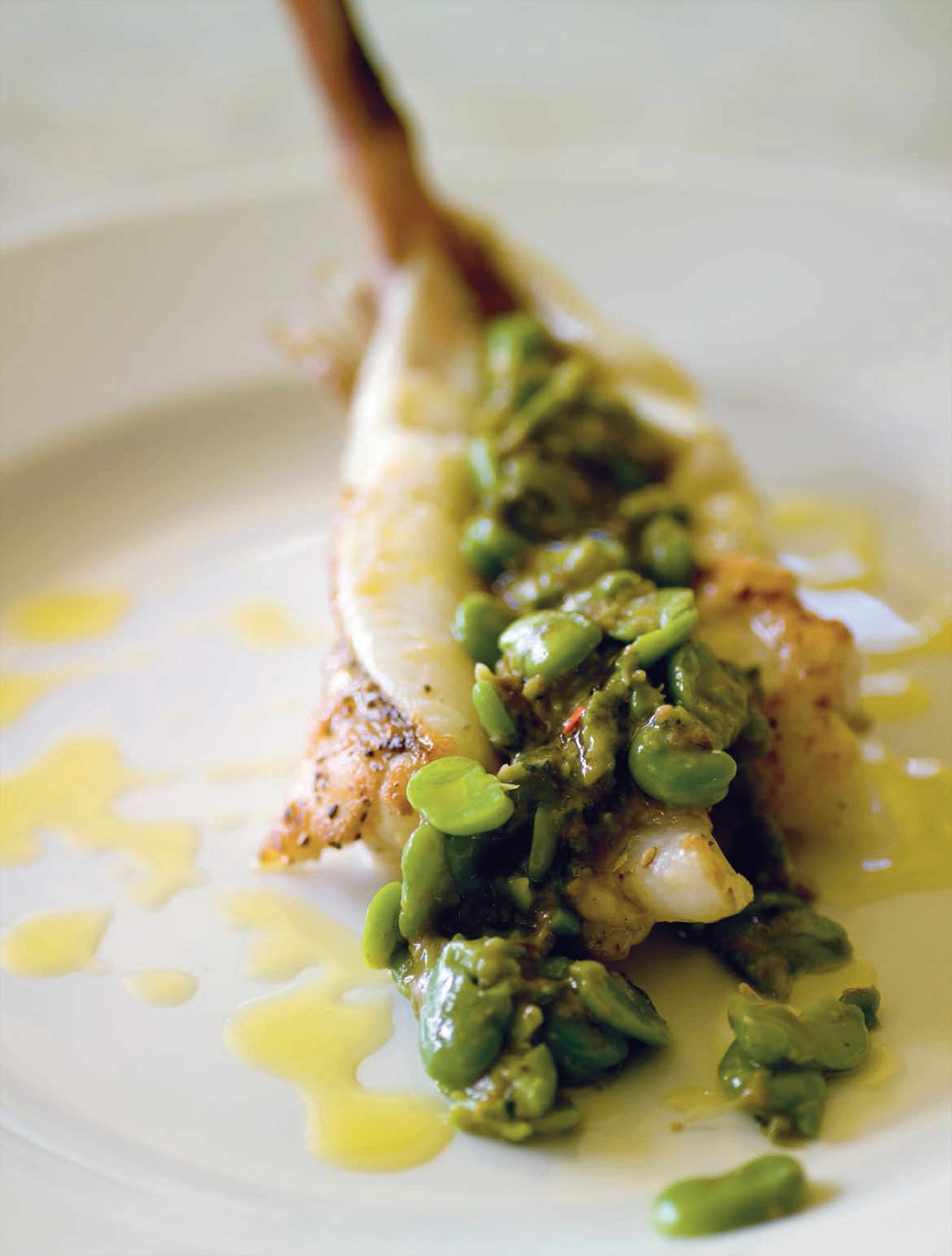 Grilled baby monkfish with broad bean and anchovy 'pesto'
