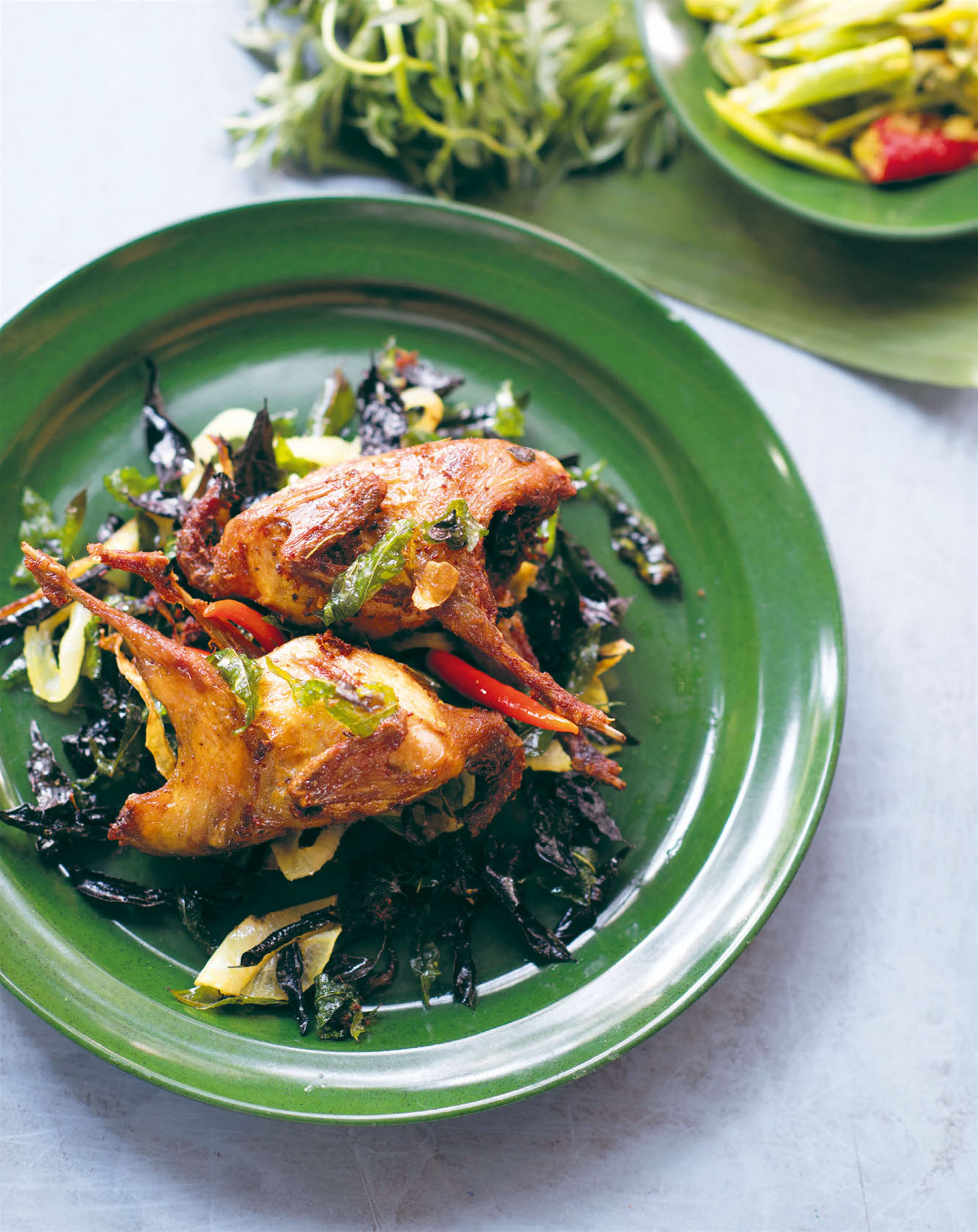 Roast quail with crisp curry leaves