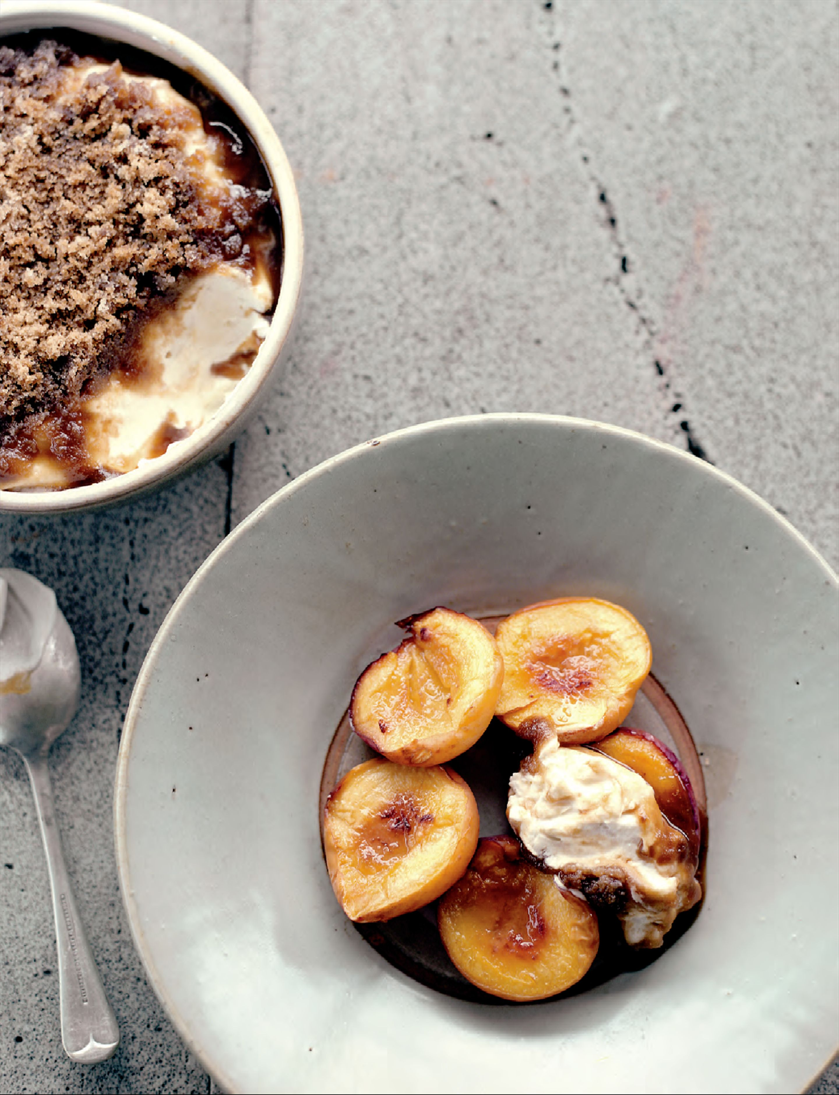 Slow-roasted nectarines with yoghurt, cream and brown sugar