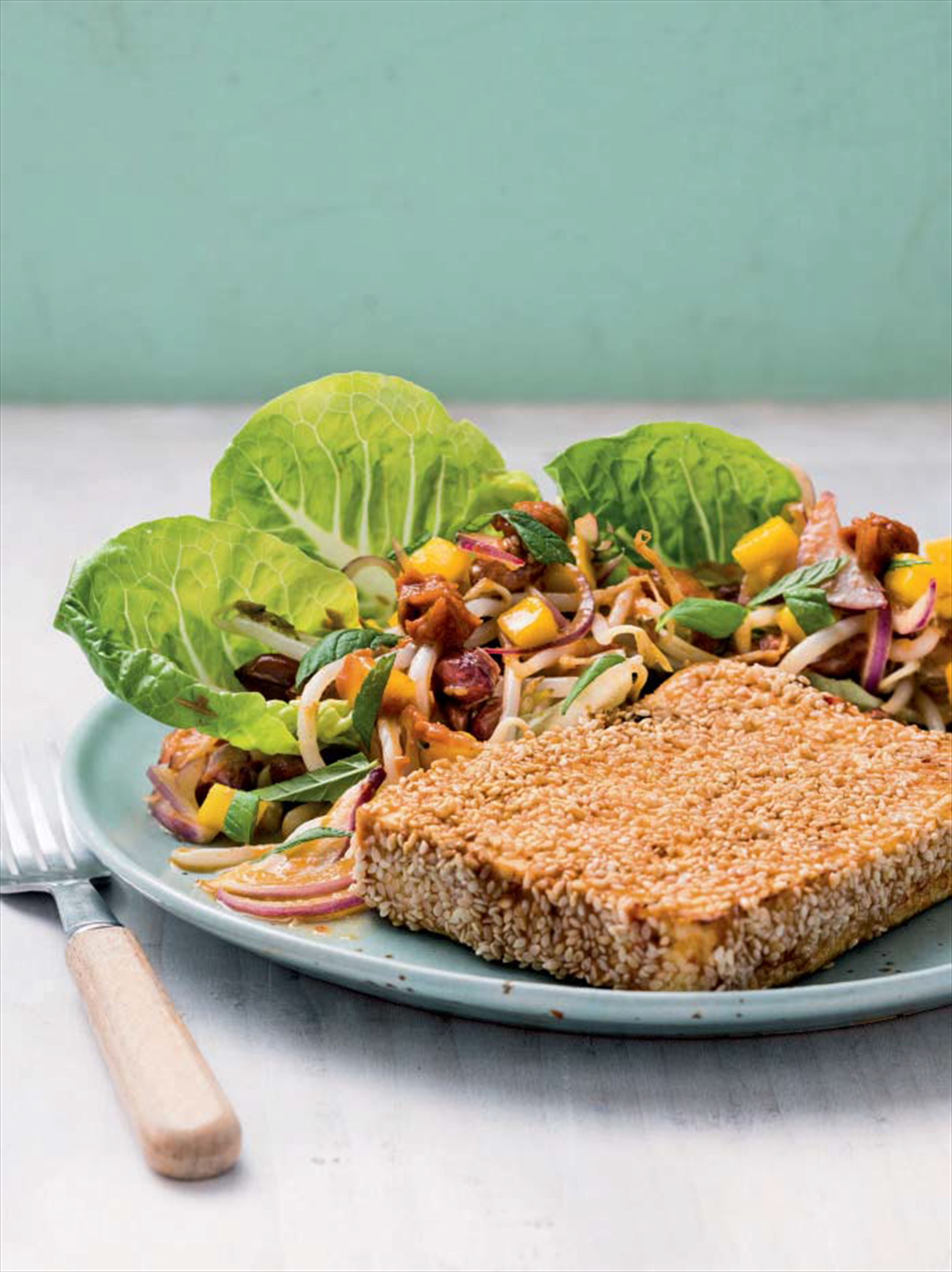 Marinated tofu 'steak' with sesame & mango salsa