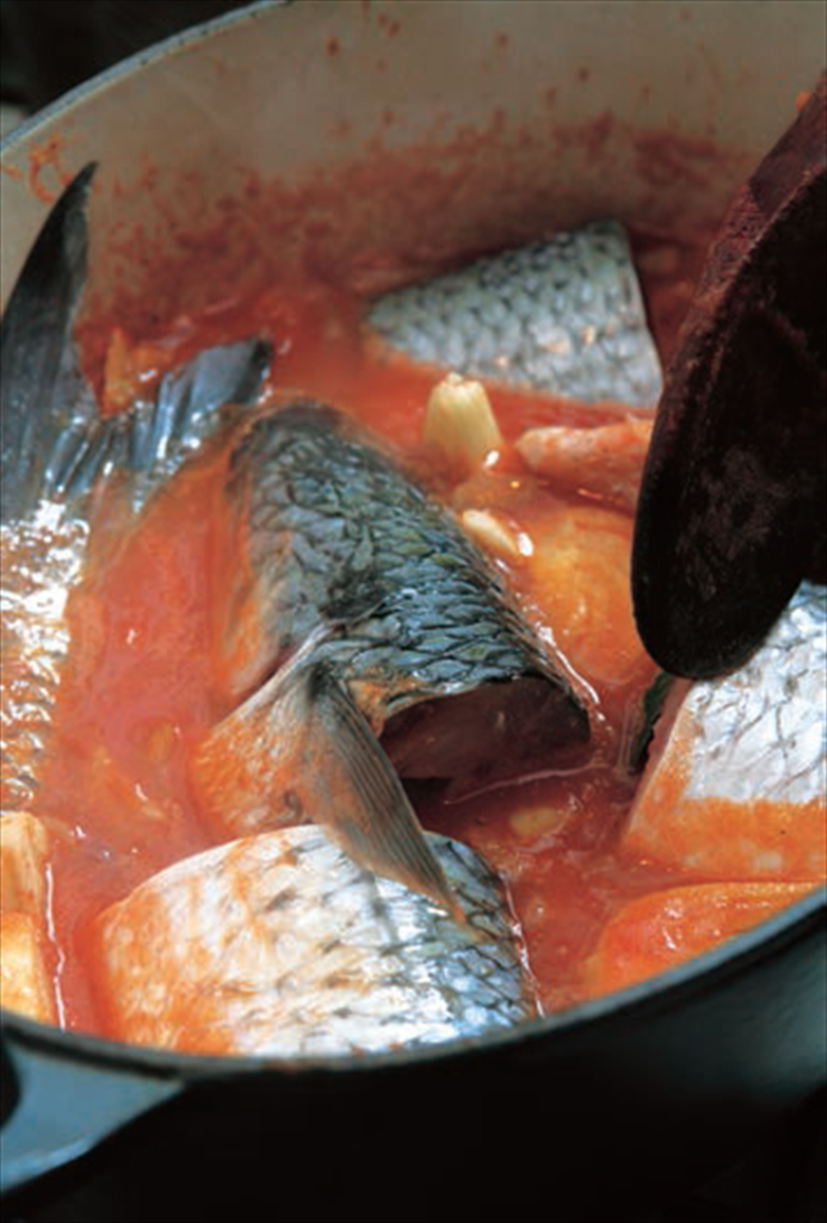 Grey mullet braised with tomato and fennel