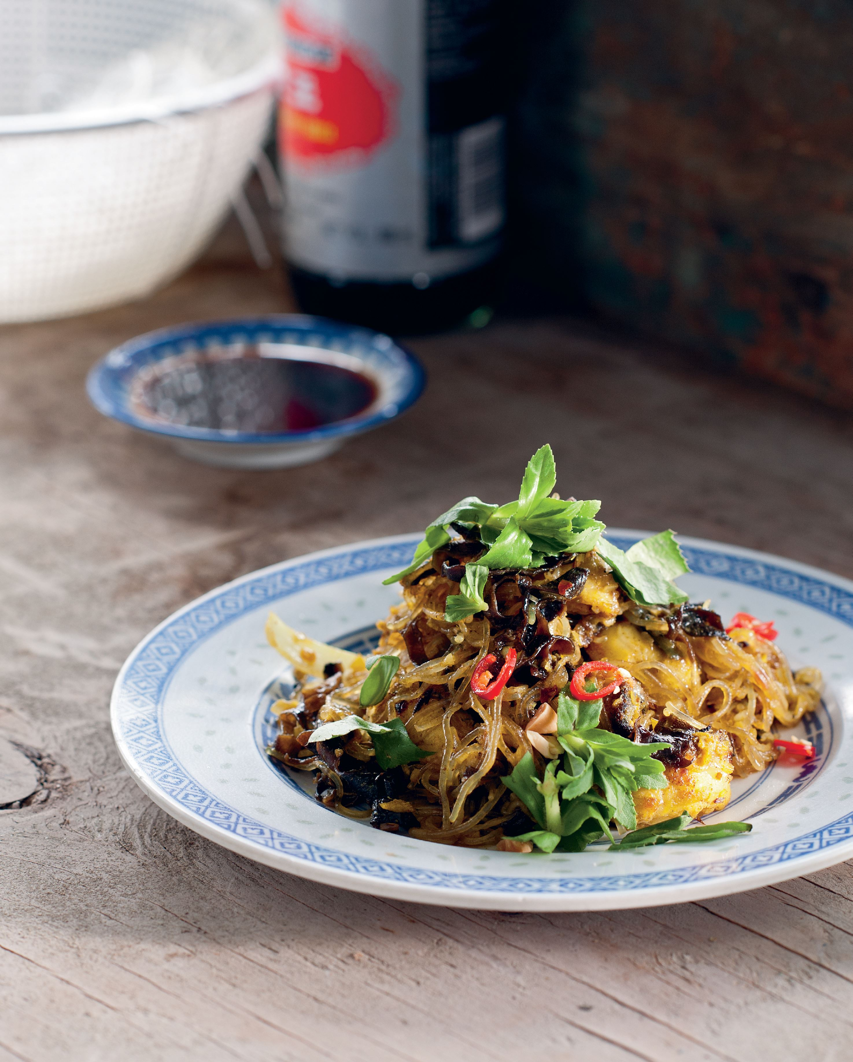 Wok-tossed eel with turmeric and glass noodles