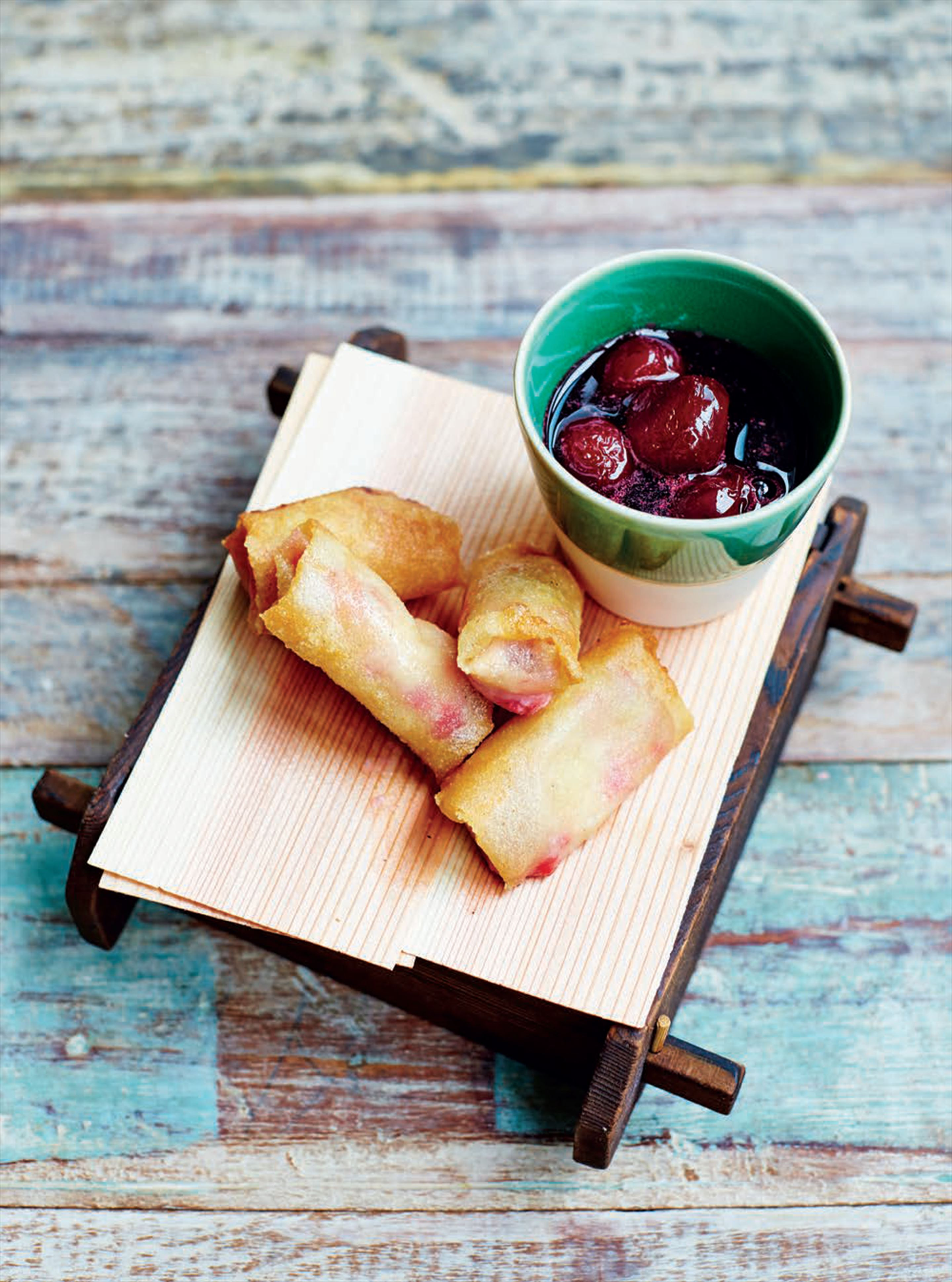 Fried raspberry ice cream 'harumaki' with boozy shochu cherries