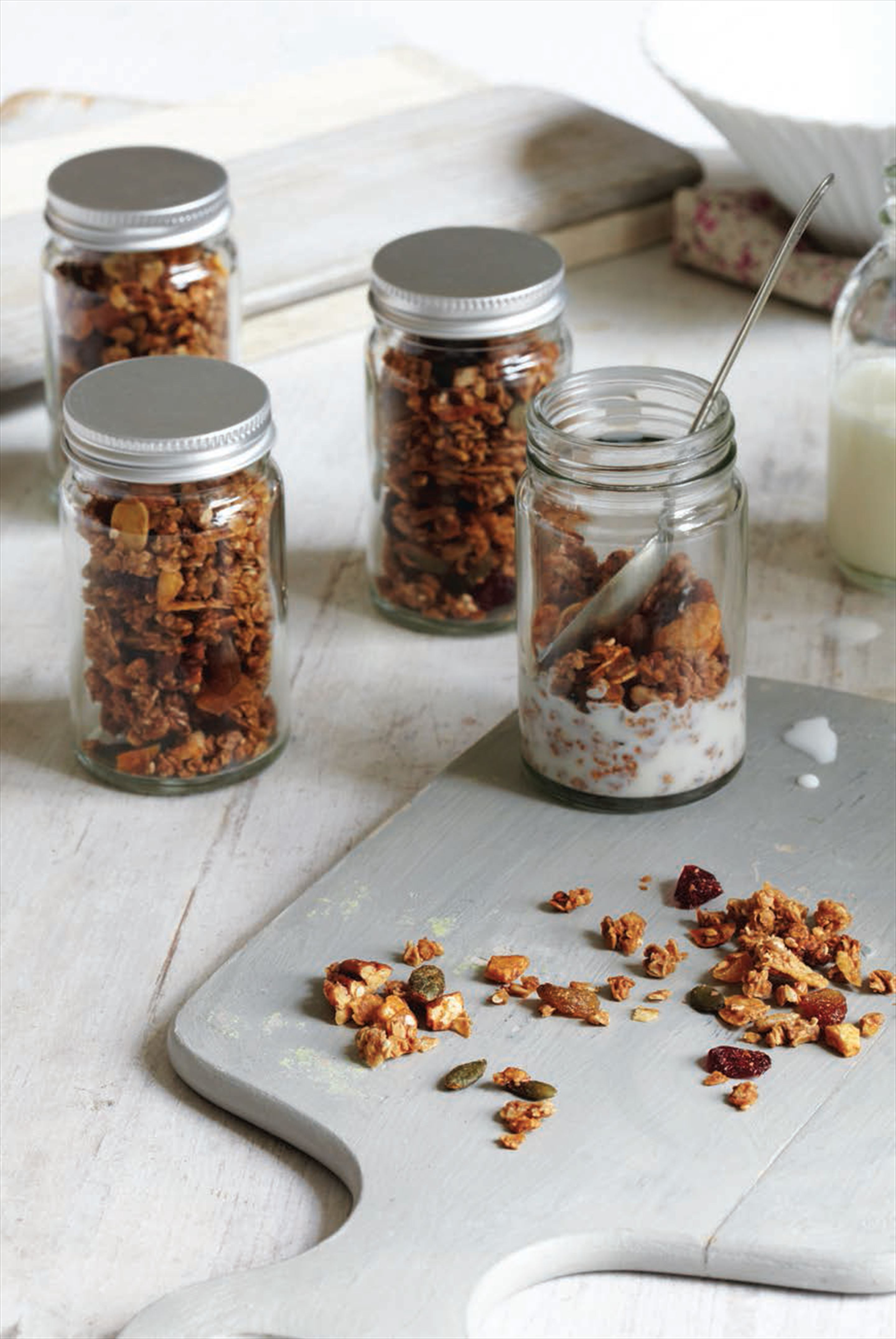 Homemade granola jars