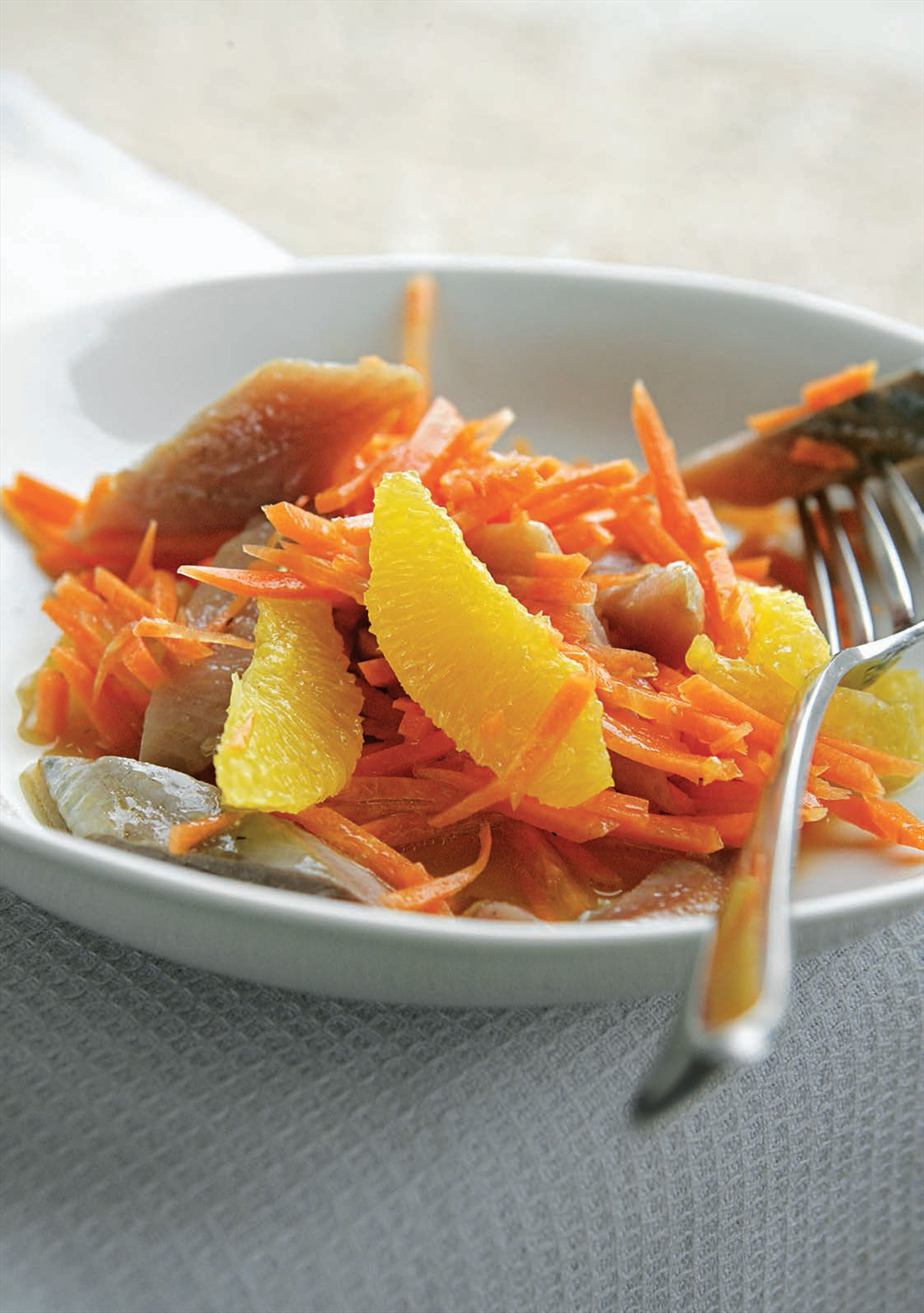 Kipper, orange and carrot salad