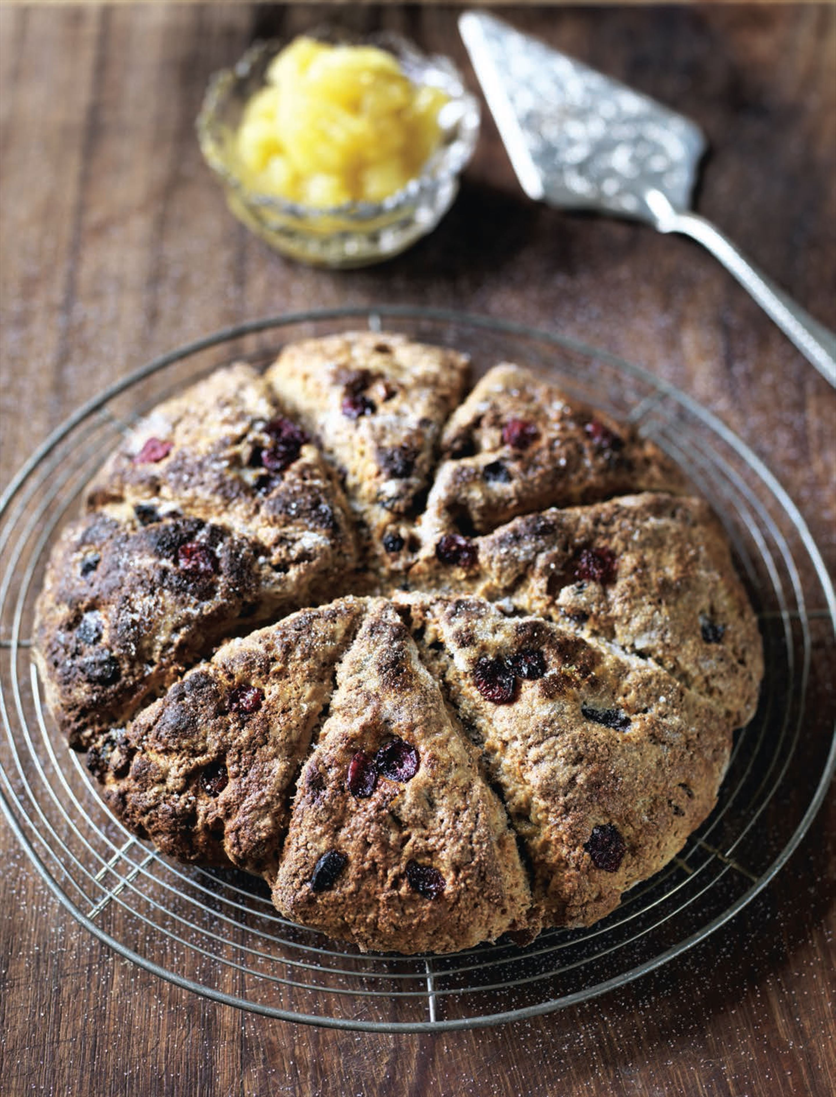 Wholemeal apple and cranberry scones