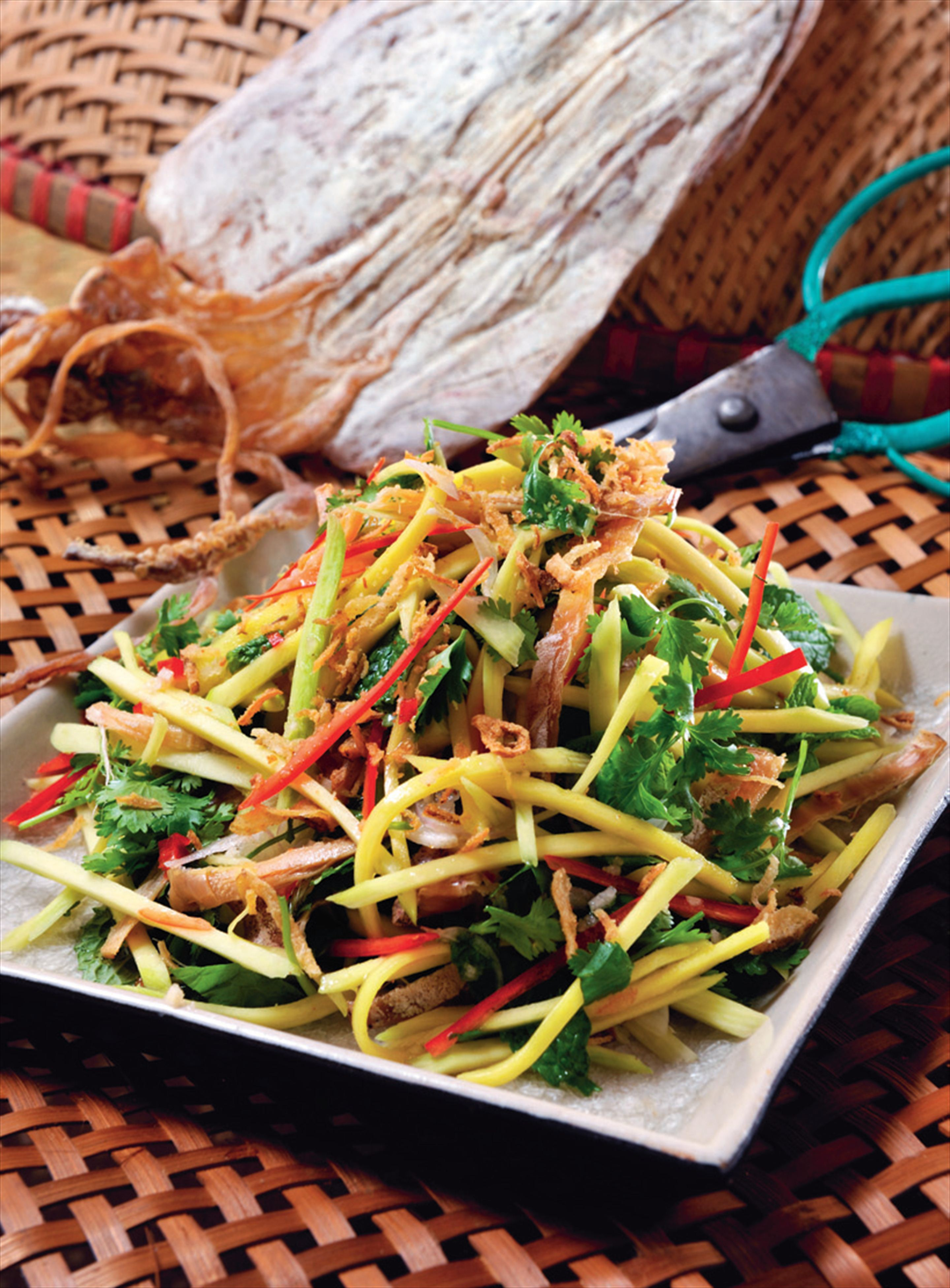 Green mango and sun-dried squid salad