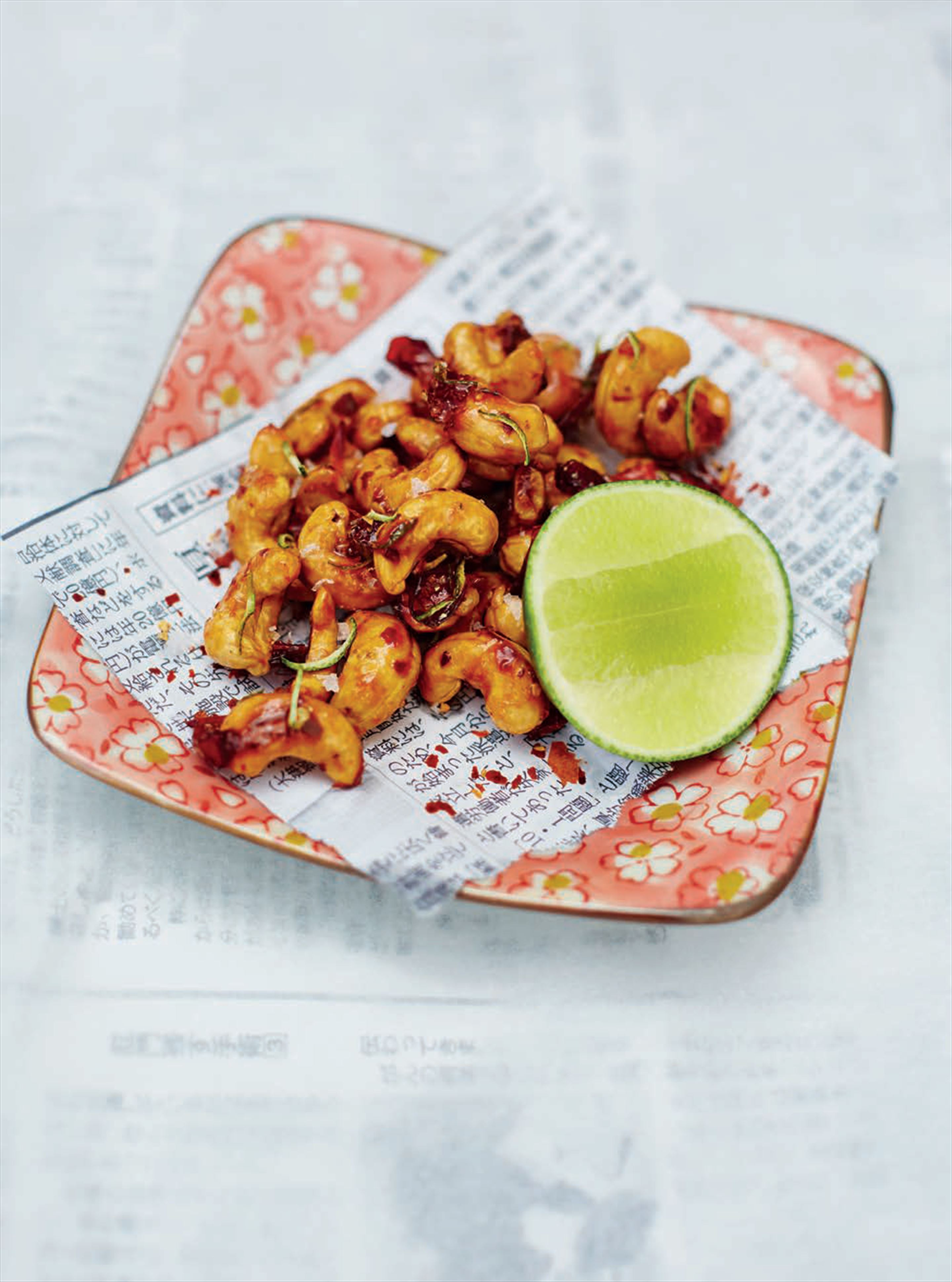 Fried cashews with dried miso, lime and chilli