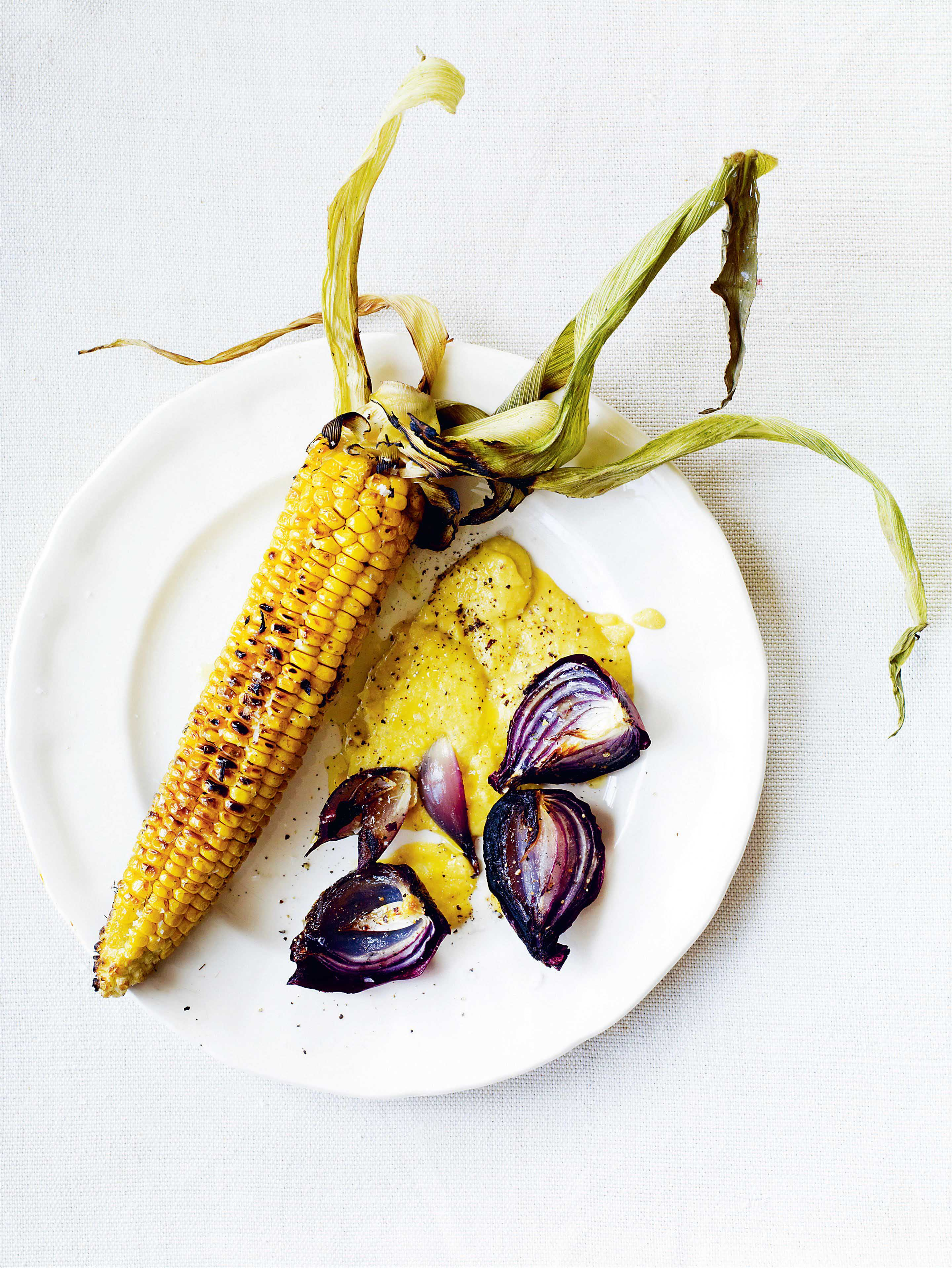 Barbecued corn & red onions with corn purée
