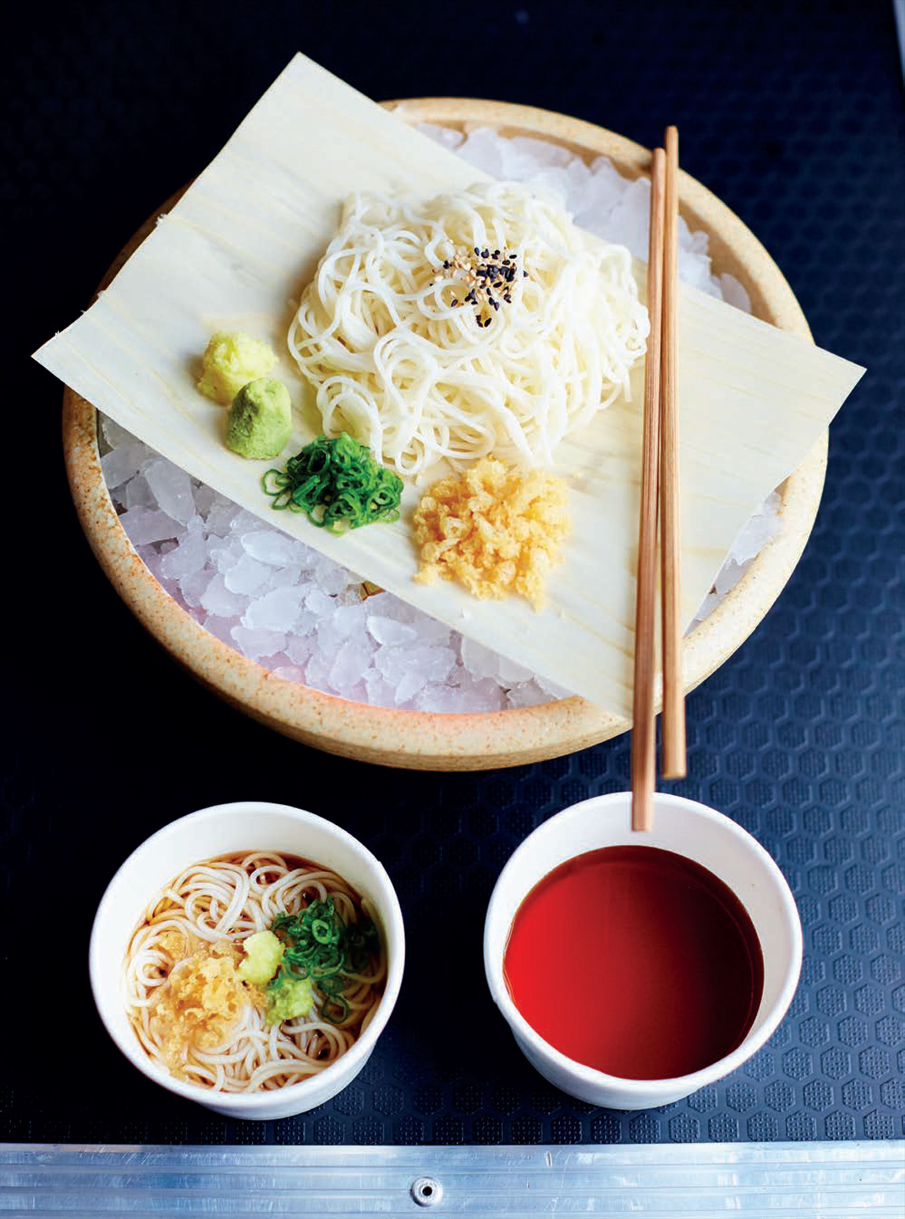 Chilled somen noodles in shiitake dipping broth