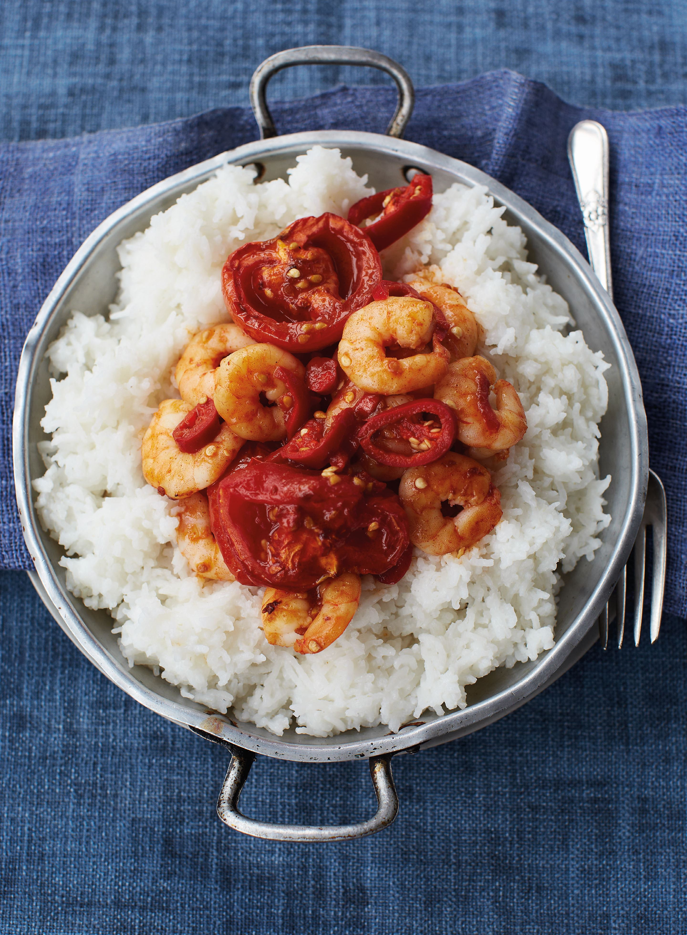 Hot and smoky tomato prawns with sticky coconut rice