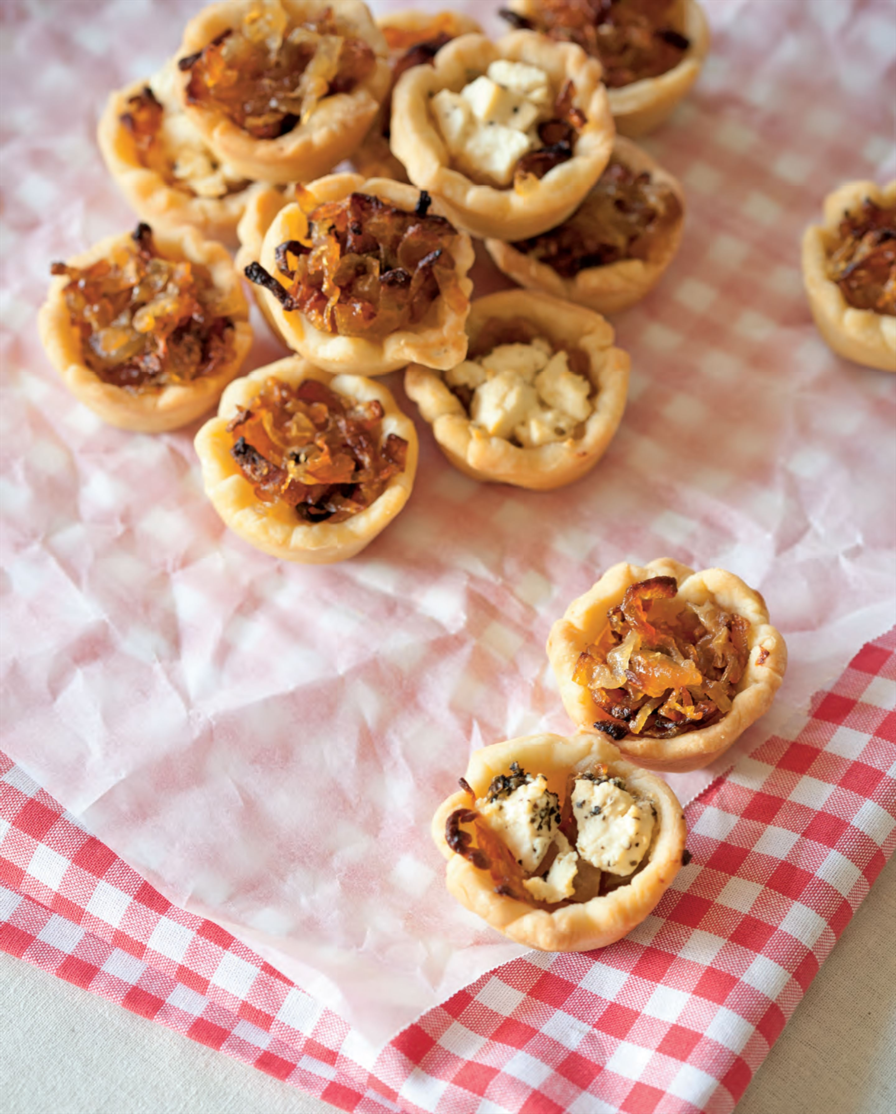 Sweet caramelised onion and feta tartlets