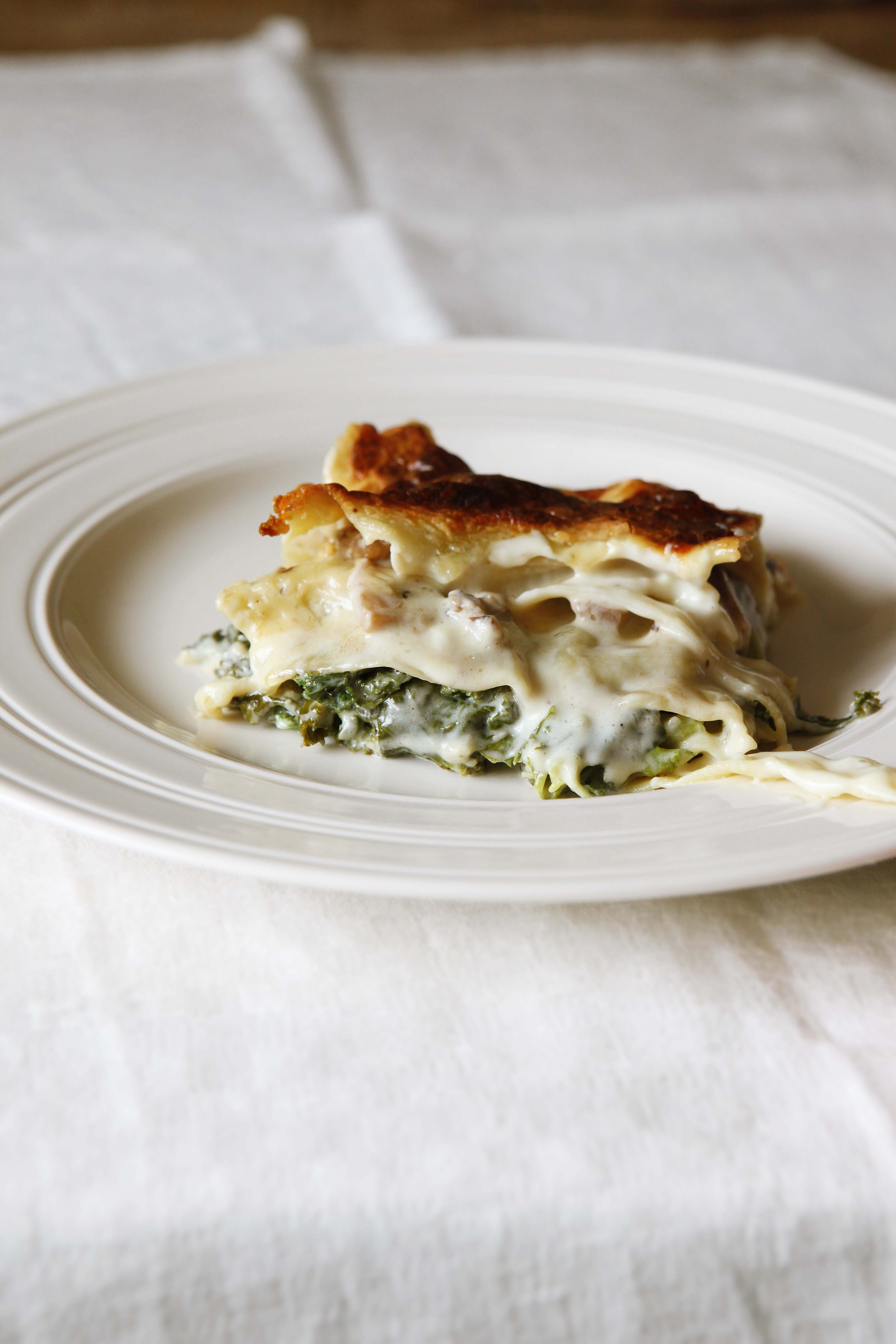 River Cottage's Kale and mushroom lasange